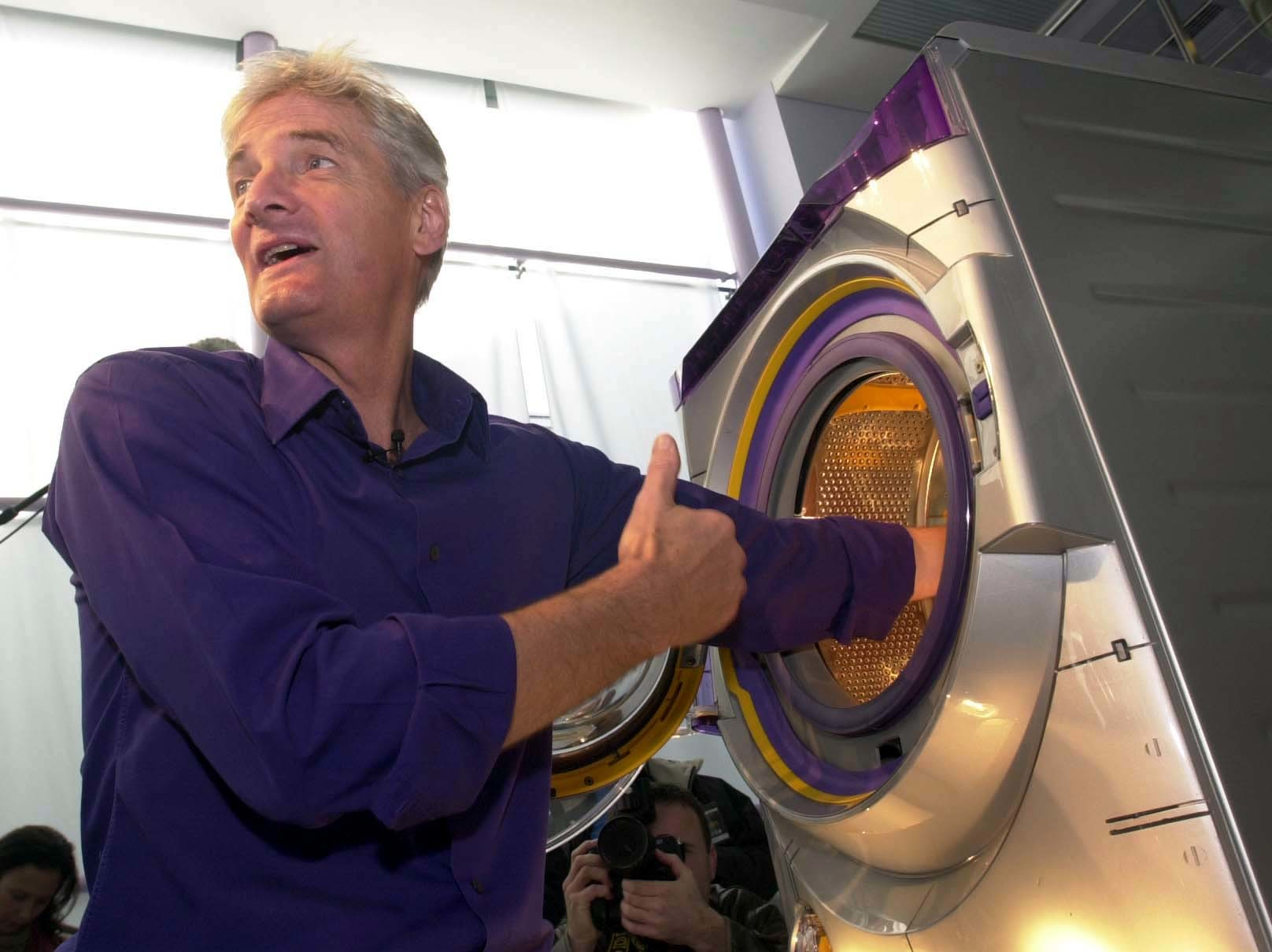 Inventor James Dyson with his new Dyson Contrarotator washing machine which he launched at his Wiltshire headquarters.