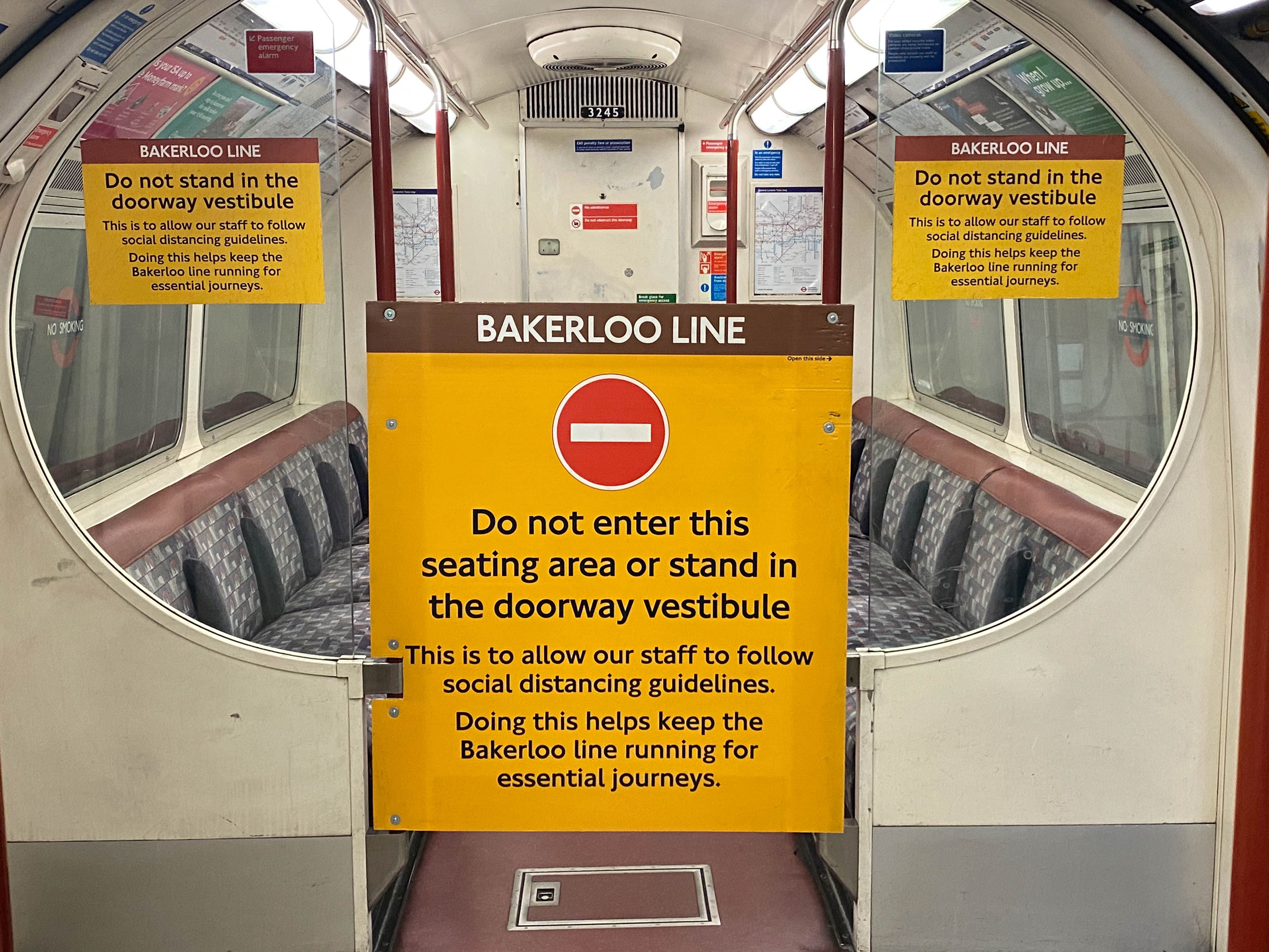 LONDON, ENGLAND - MAY 24: Social Distancing measures are seen on a Bakerloo line tube train on May 24 2020 in London, England. The prime minister announced the general contours of a phased exit from the current lockdown, adopted nearly two months ago in an effort curb the spread of Covid-19.  (Photo by Peter Summers/Getty Images)