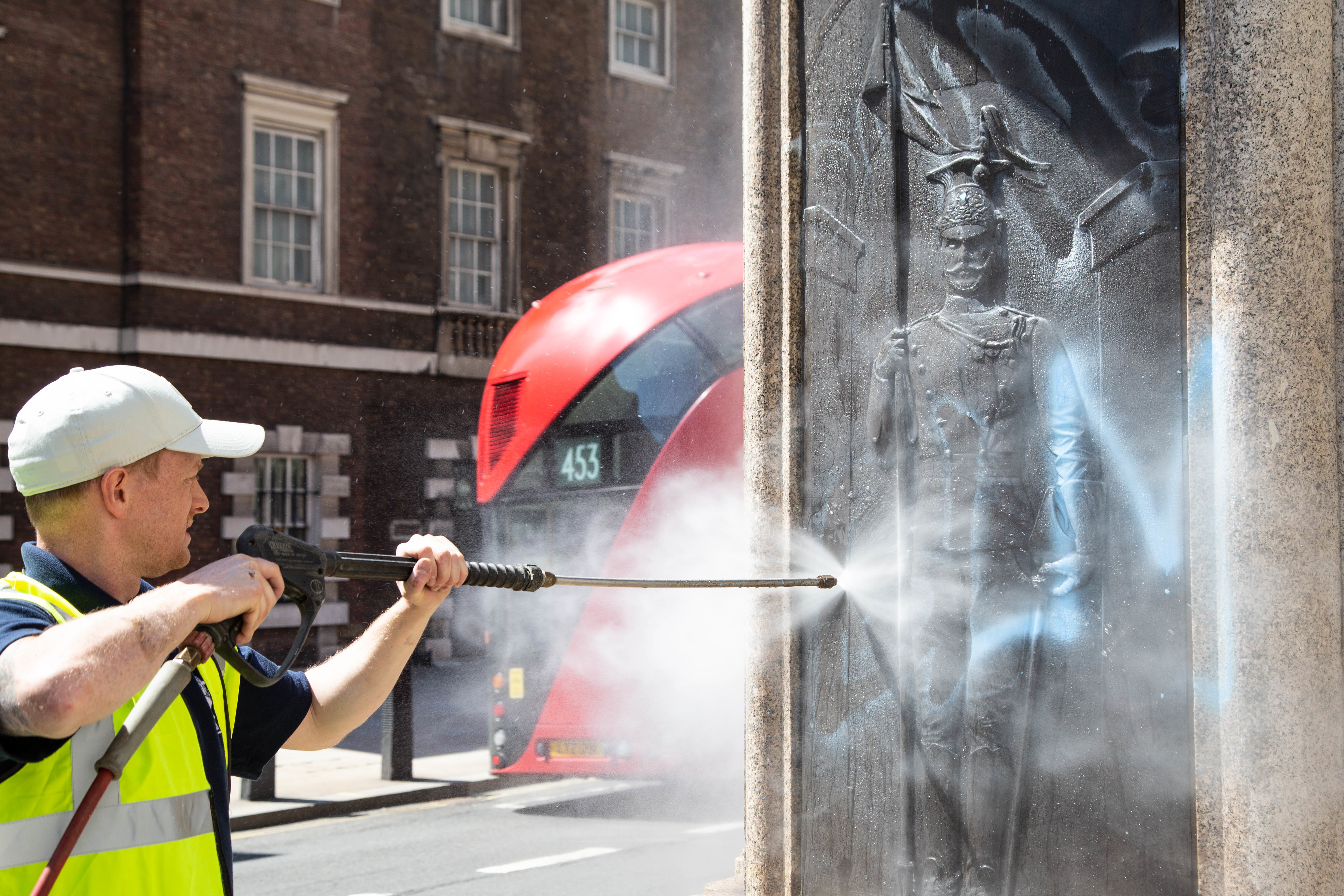 Equestrian statue of the Duke of Cambridge in Whitehall is being cleaned after it was graffitied with a slogan BLM. Clean up of historical statues after fourth consecutive week of Black Lives Matter protests in London. (Photo by Thabo Jaiyesimi / SOPA Images/Sipa USA)