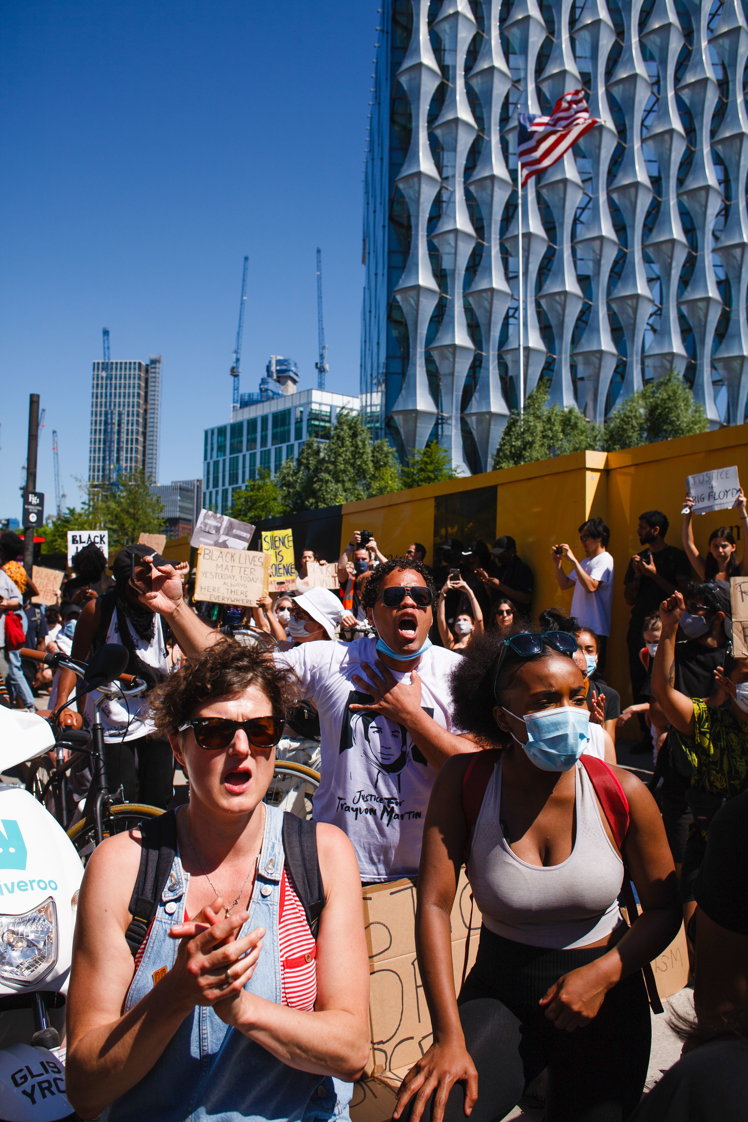 Activists gathered chanting slogans at the US embassy during the George Floyd demonstration. Thousands came together for the protest, despite ongoing concerns over the possible spread of coronavirus and continuing calls by authorities for social distancing guidelines to be adhered to. Floyd, a black man, died as a white police officer, Derek Chauvin, knelt on his neck during an arrest in the US city of Minneapolis on May 25. Floyd's death, reminiscent of the chokehold death of Eric Garner at the hands of police officers in New York in 2014, has reignited the 'Black Lives Matter' movement against police brutality in the US, and left Minneapolis and major cities from coast to coast reeling from nights of rioting. (Photo by David Cliff / SOPA Images/Sipa USA)