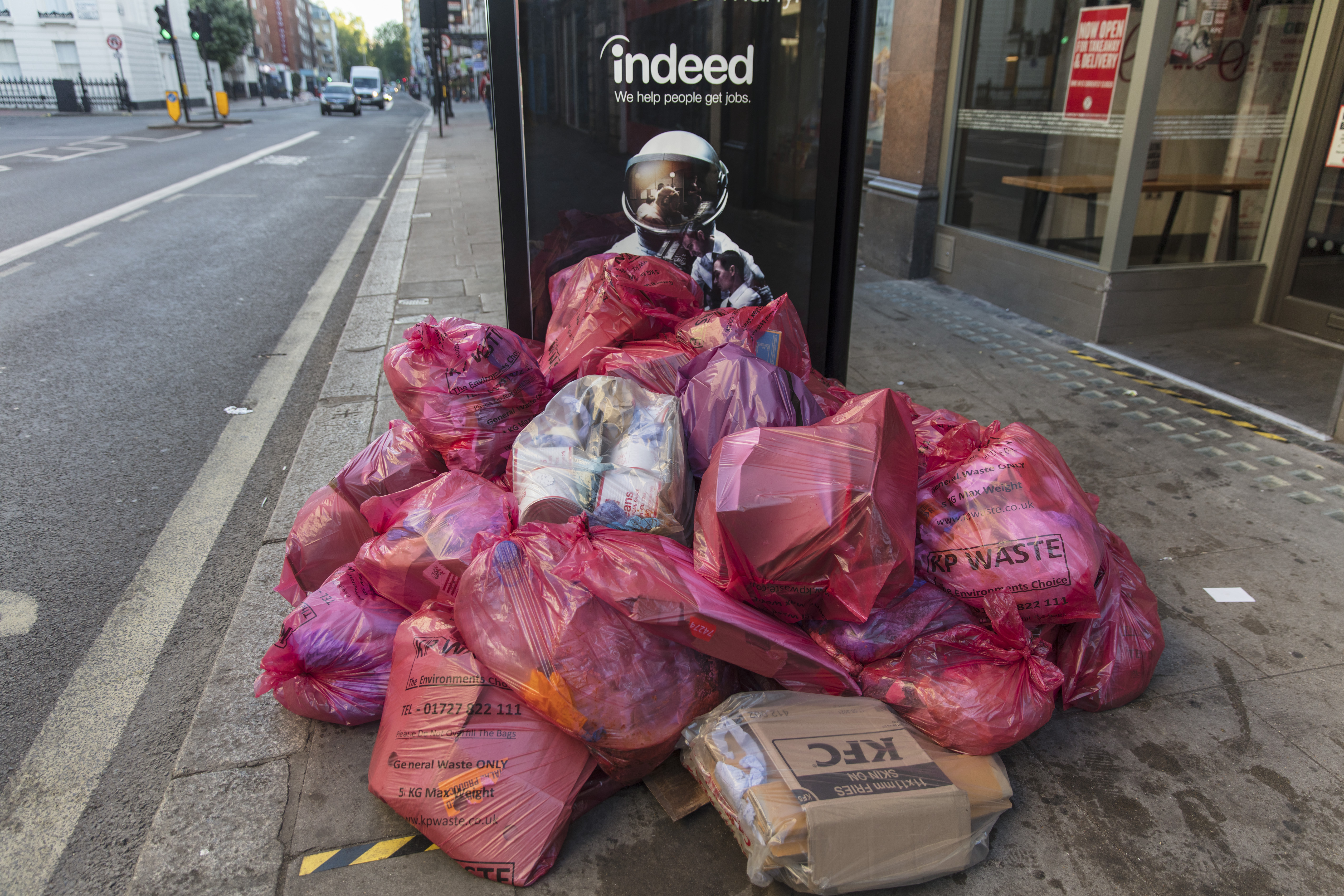 Rubbish left by a bus stop at the end of lockdown on 15th June in Southampton Row, London, United Kingdom.  (photo by Barry Lewis/InPictures via Getty Images)