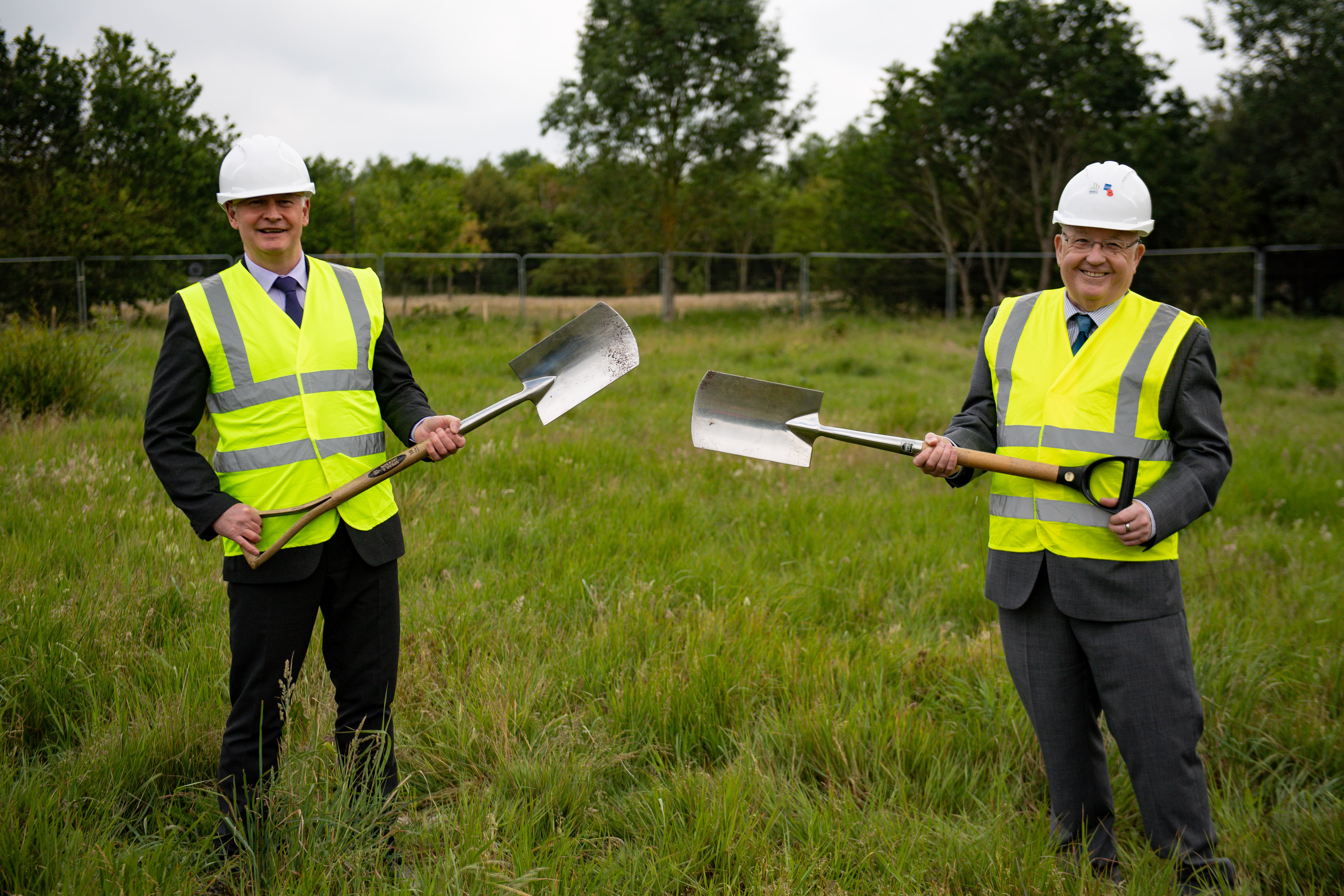Bryn Hughes (L), the father of Pc Nicola Hughes, and Paul Bone, the father of Pc Fiona Bone, during a groundbreaking ceremony for the new UK Police Memorial at the National Memorial Arboretum in Alreewas, Staffordshire.