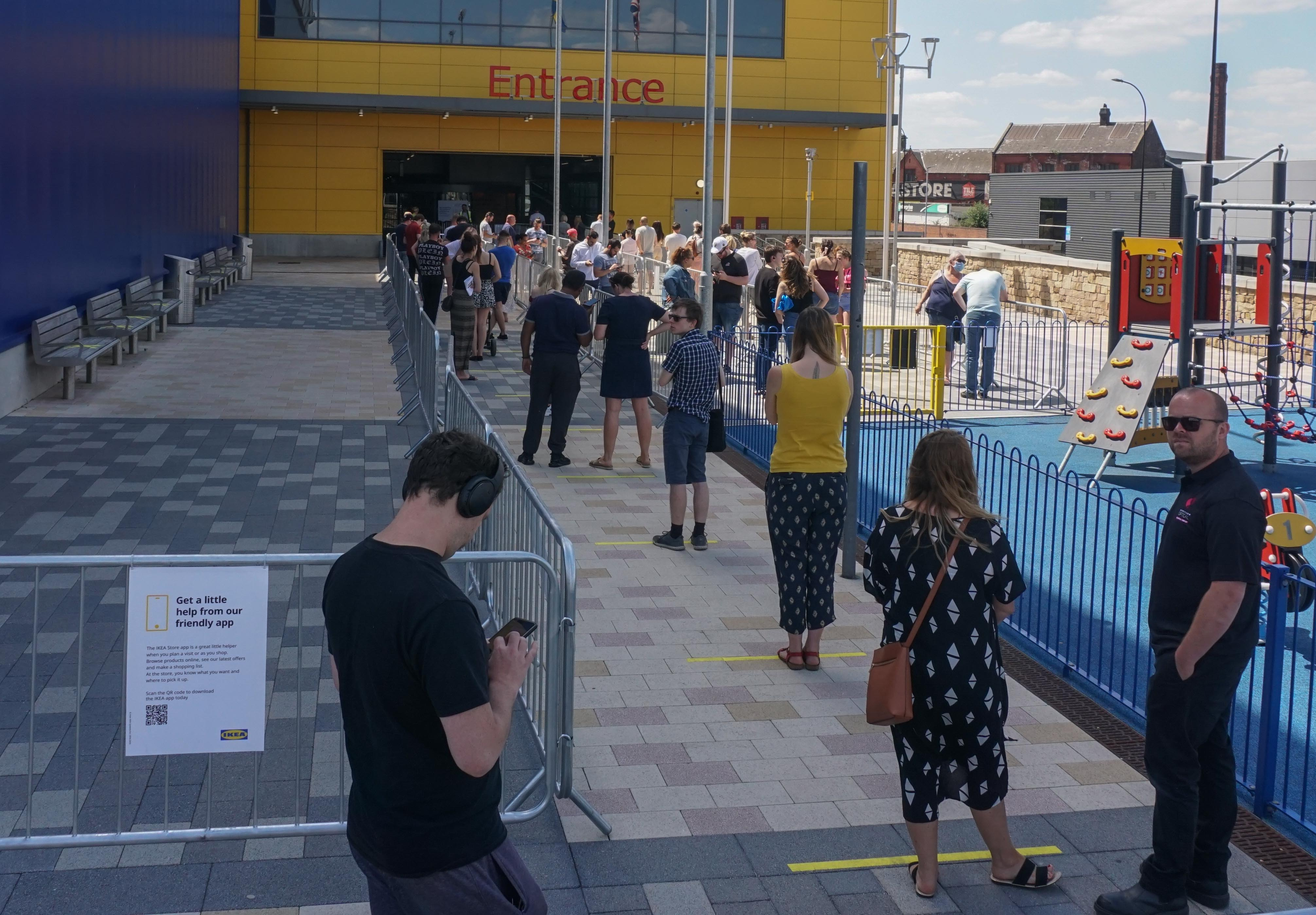 Shoppers observe social distancing as they wait to enter an IKEA store in sheffield , on 1st June 2020. (Photo by Giannis Alexopoulos/NurPhoto via Getty Images)