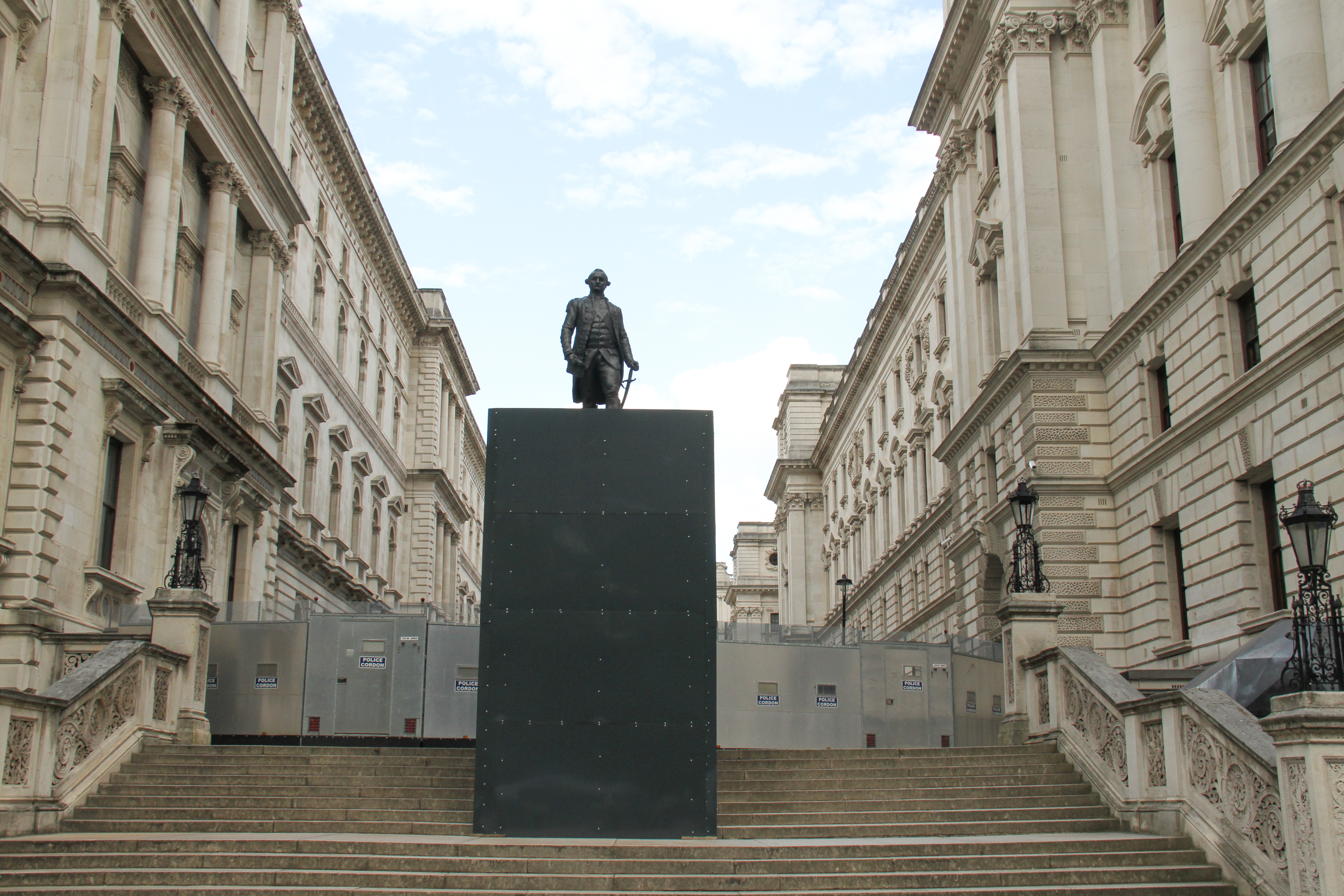 The Statue Robert Clive is boarded up following vandalism from previous demonstration in the City. Clive, the 1st Baron Clive better know as Clive of India, who established British rule in India stands outside the Foreign Office. Clive was first Governor of Bengal Presidency under the East India Company. Authorities boarded monuments and statues in London most due to their past linkage to slavery in anticipation of possible vandalism with far-right organisations and Black Lives Matter demonstration scheduled for this weekend. (Photo by David Mbiyu / SOPA Images/Sipa USA)