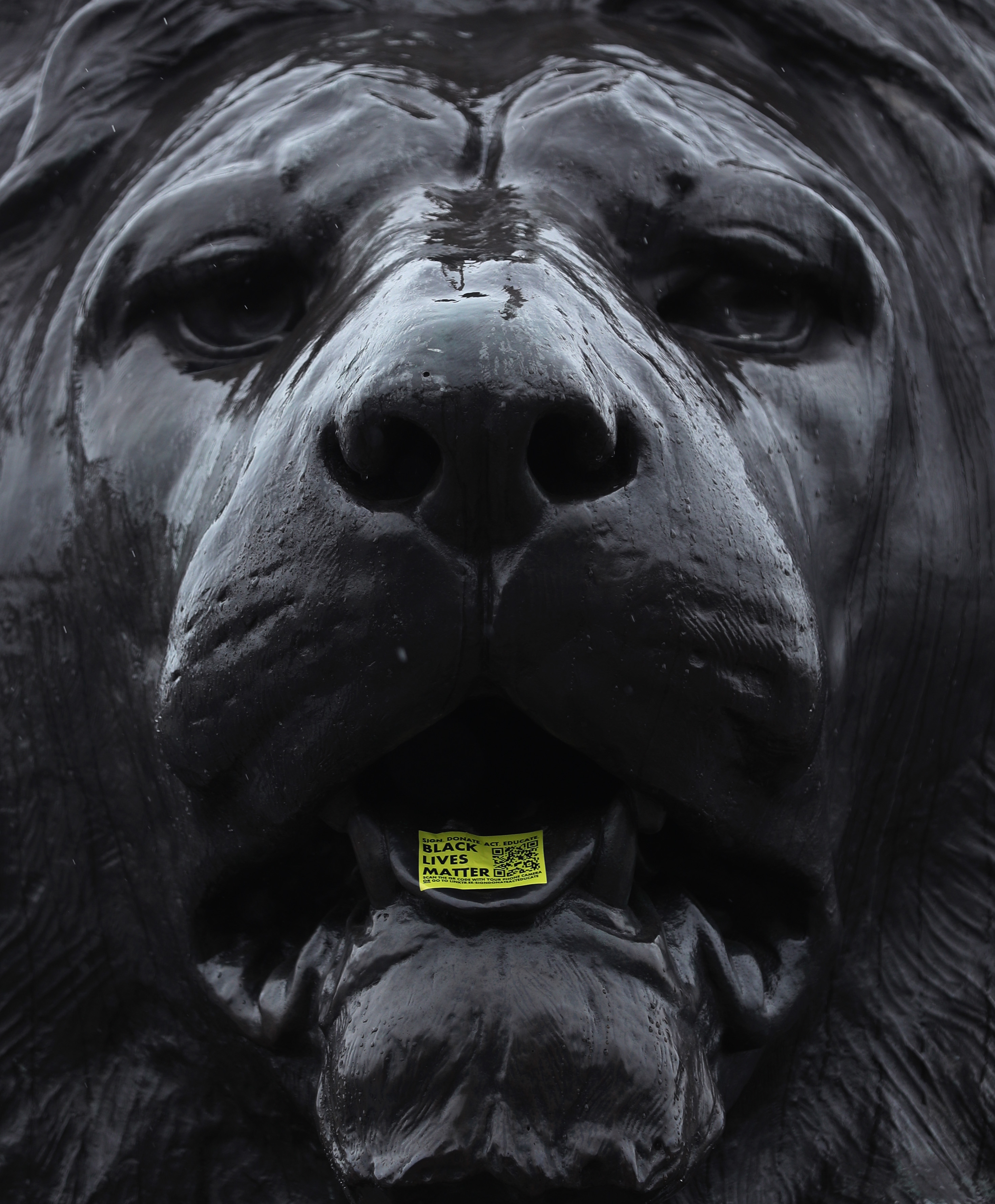 A sticker placed on the tongue of one of the lion sculptures in Trafalgar Square, London, following a raft of Black Lives Matter protests that took place across the UK over the weekend. The protests were sparked by the death of George Floyd, who was killed on May 25 while in police custody in the US city of Minneapolis.