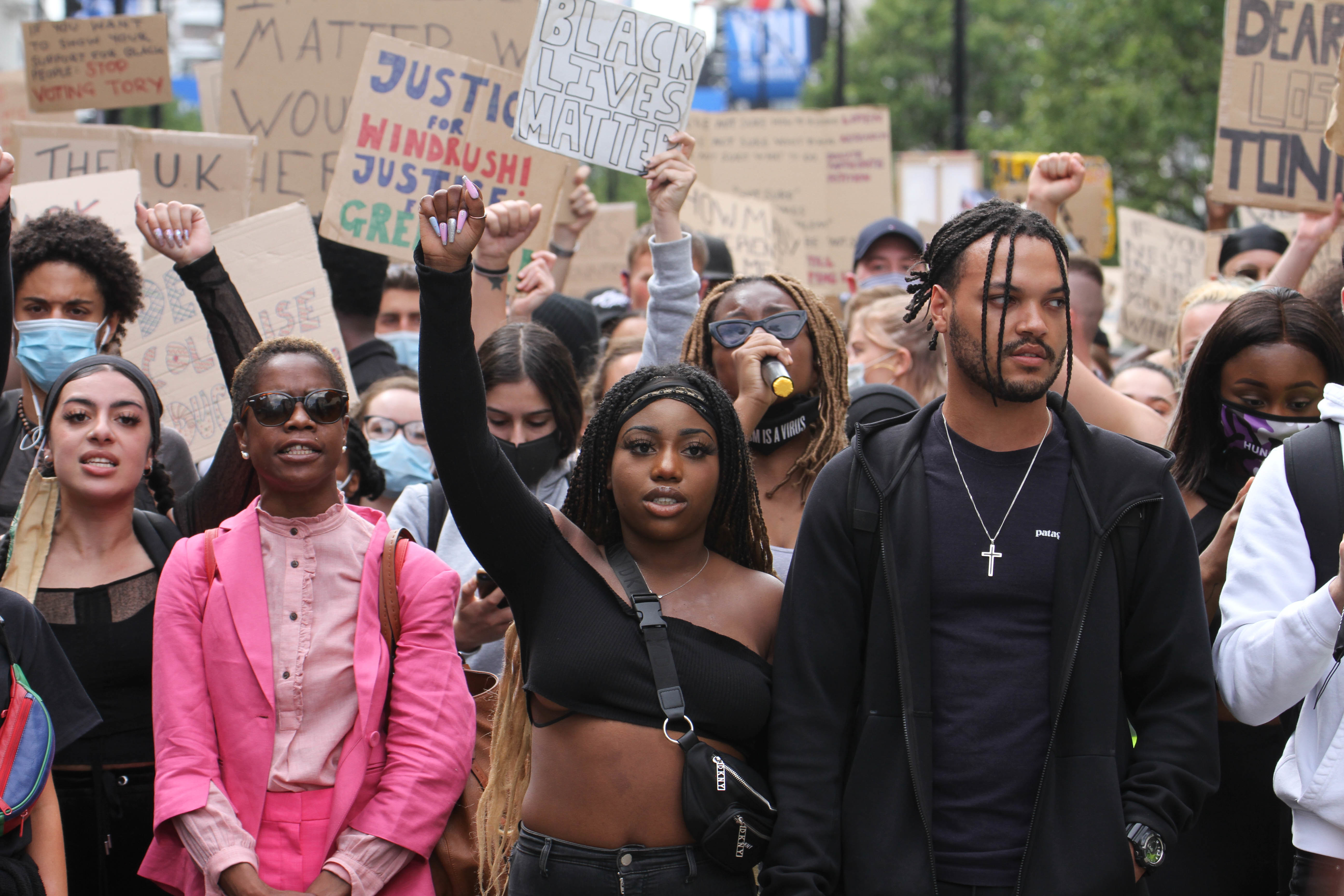 BLM demonstrators march through Oxford Street during the demonstration. Black Lives Matter protests continue in The UK since the death of George Floyd at the hands of police officer in Minneapolis. (Photo by David Mbiyu / SOPA Images/Sipa USA)