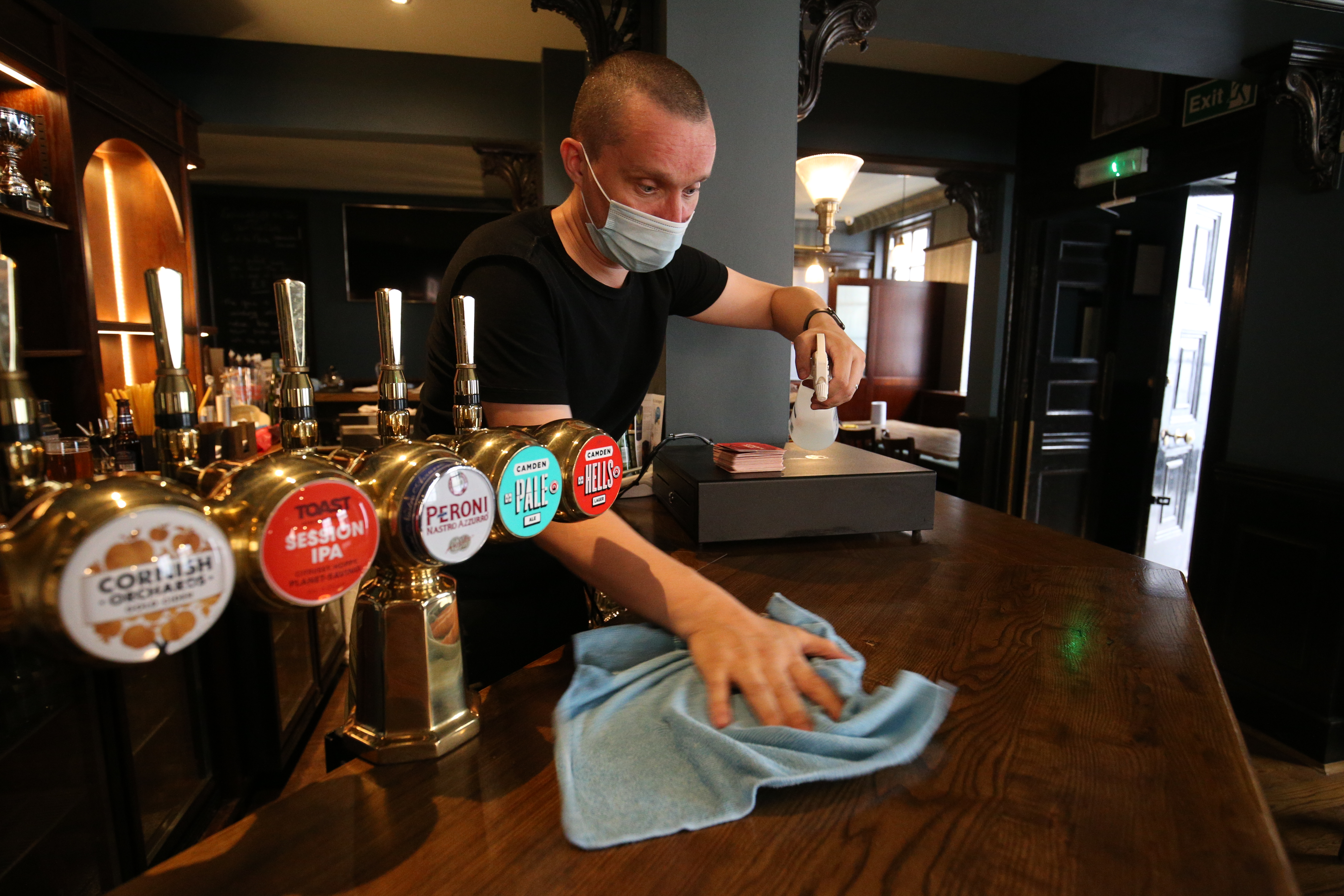 """Tony Bennett the owner of The Devereux pub in Temple, London. Pub and hospitality bosses have cheered the Government's proposals to allow customers through their doors again on July 4 as """"a welcome relief""""."""