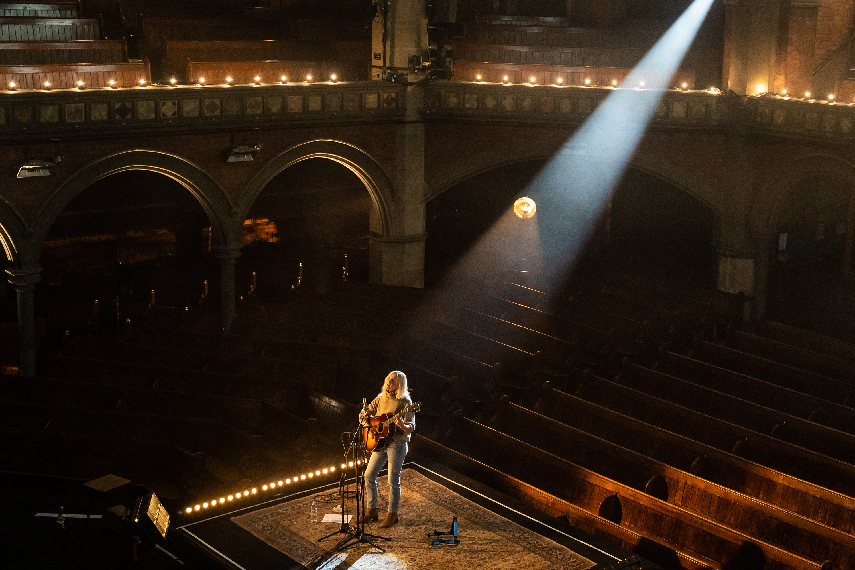 """LONDON, ENGLAND - JUNE 06: Laura Marling performs her new album """"Song For Our Daughter"""" in an empty Union Chapel on June 06, 2020 in London, England.  The gig was streamed live to ticket buyers across Europe during the COVID-19 pandemic. (Photo by Lorne Thomson/Redferns)"""
