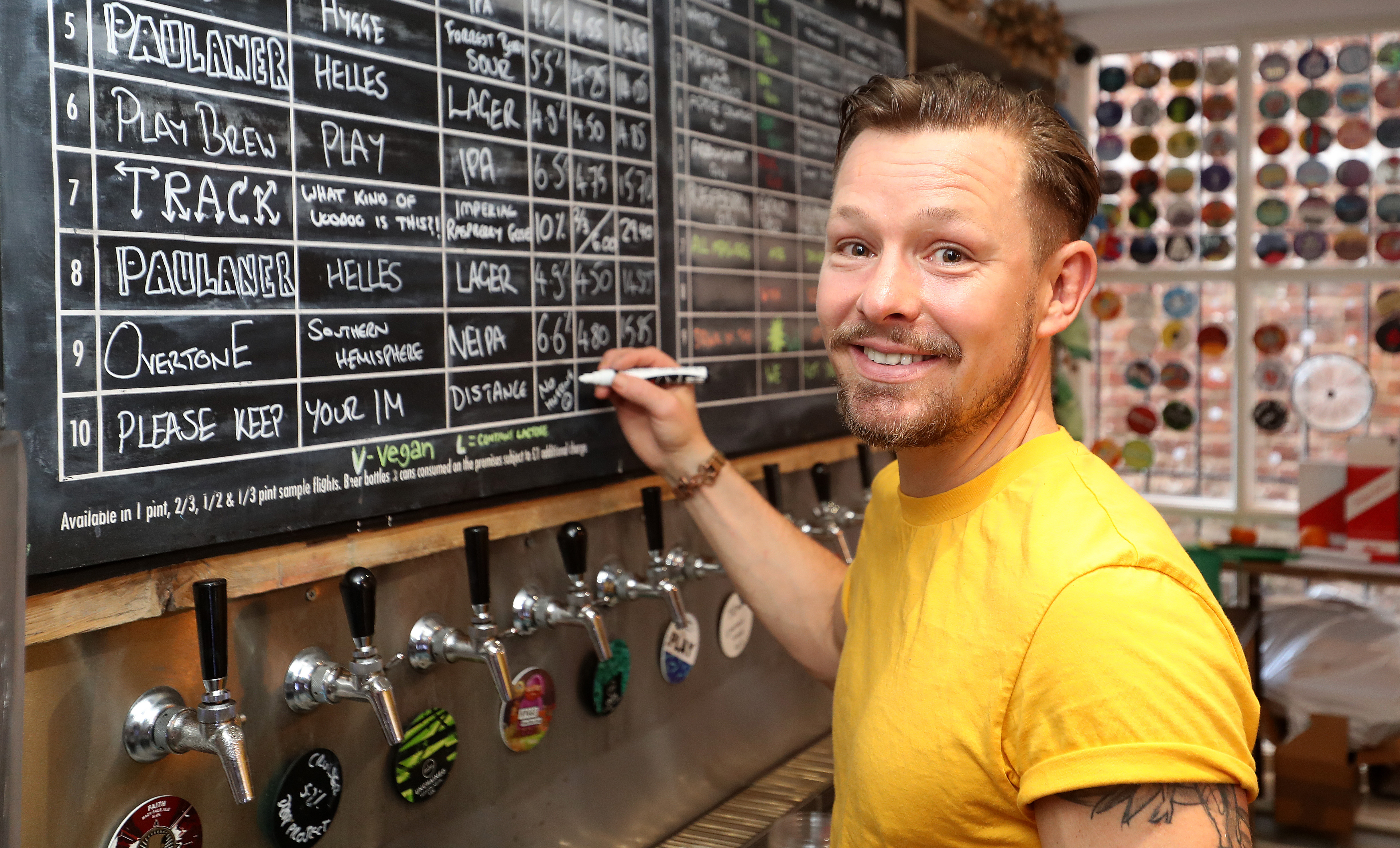 Former Coronation Street actor Adam Rickitt starts to prepare his bar, Dexter & Jones, in Knutsford, Cheshire, for reopening after the Government announced restrictions on bars and pubs will be eased from July 4th. The bar has been open for take away orders during lockdown.