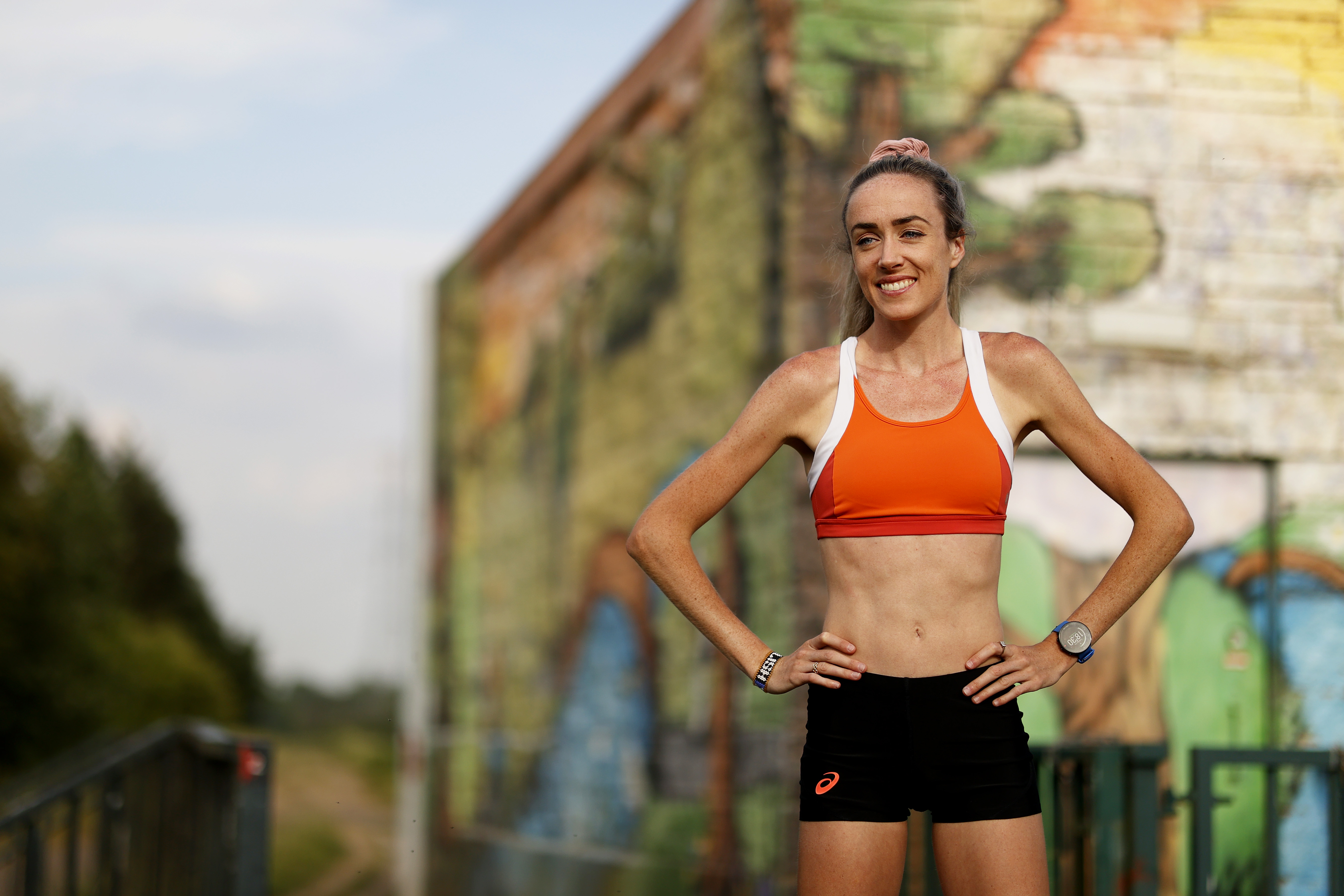 MANCHESTER, ENGLAND - JUNE 02: Great Britain middle-distance runner Eilish McColgan poses for a portrait after her training run in Didsbury on June 02, 2020 in Manchester, England. (Photo by Clive Brunskill/Getty Images)