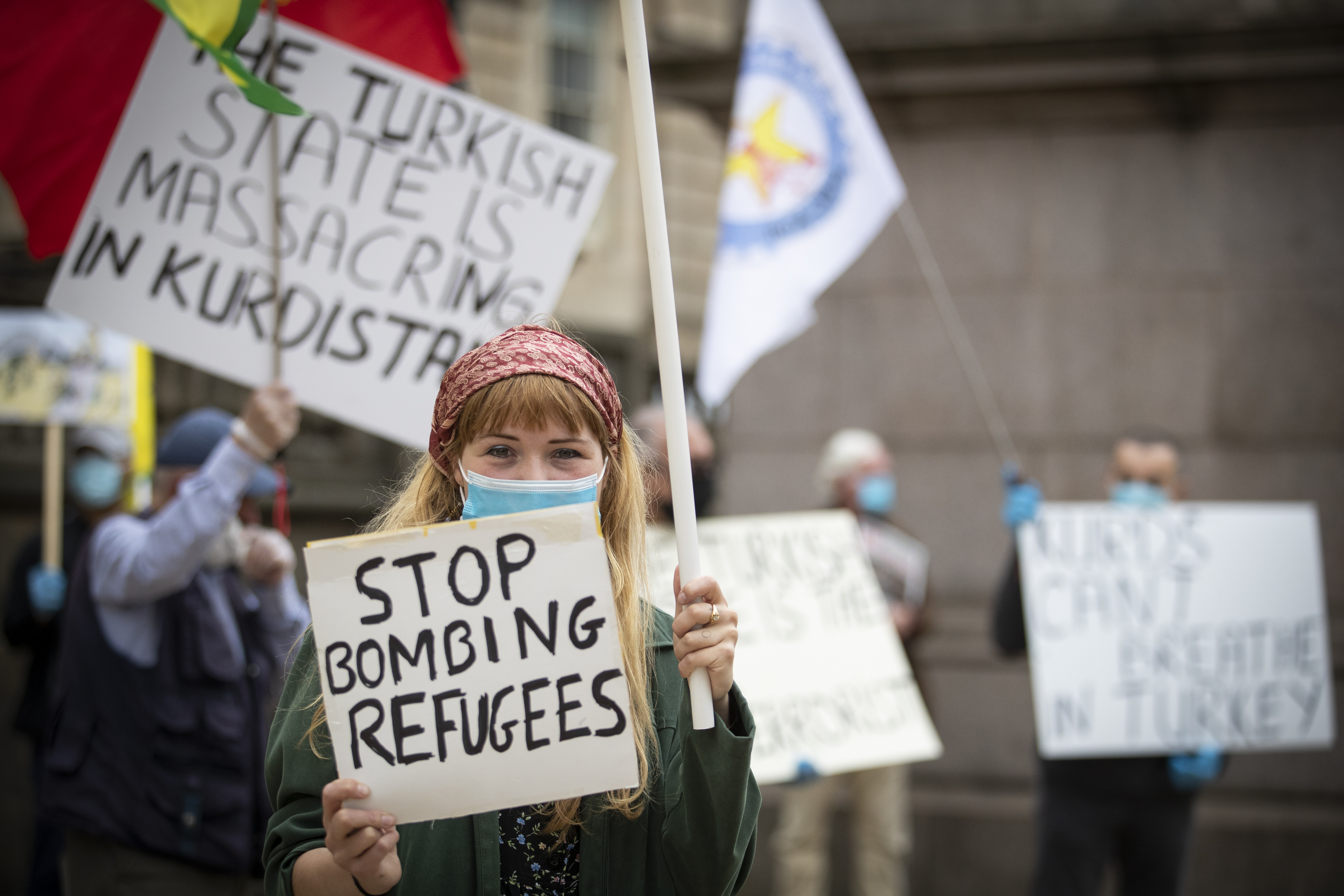 Members of Kurdish Community Scotland during a demonstration in Edinburgh protesting against Turkish air raids in Iraq. (Photo by Jane Barlow/PA Images via Getty Images)