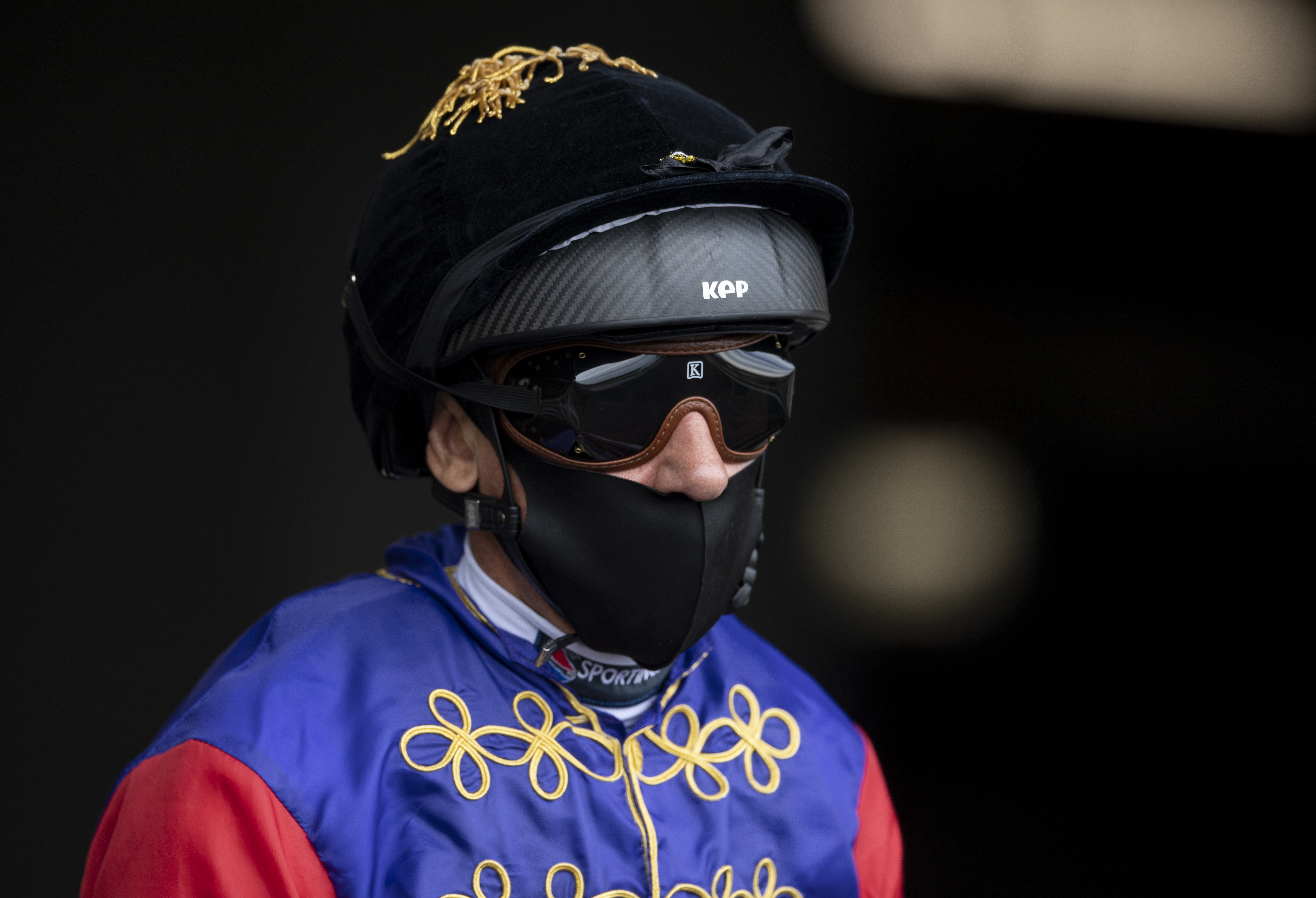 ASCOT, ENGLAND - JUNE 17: Frankie Dettori in The Queens silks prior to the Hampton Court Stakes during Day 2 of Royal Ascot at Ascot Racecourse on June 17, 2020 in Ascot, England. (Photo by Edward Whitaker/Pool via Getty Images)
