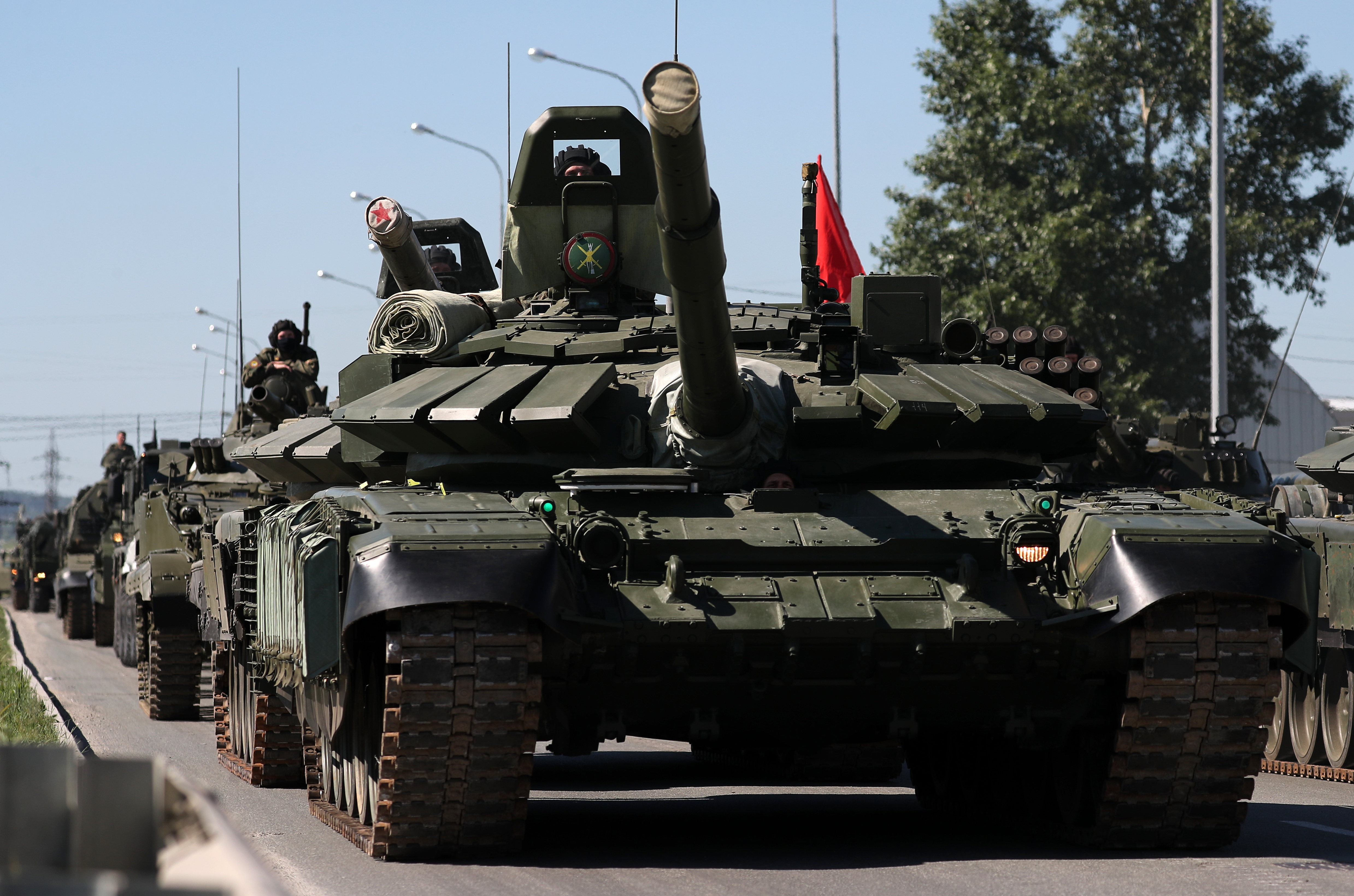 YEKATERINBURG, RUSSIA  JUNE 8, 2020: A T-72B3M tank and other military hardware are seen during a rehearsal of a military parade marking the 75th anniversary of the Victory in WWII. Victory Day parades across Russia have been postponed due to lockdown restrictions imposed in connection with the pandemic of the novel coronavirus disease (COVID-19). Donat Sorokin/TASS (Photo by Donat Sorokin\TASS via Getty Images)