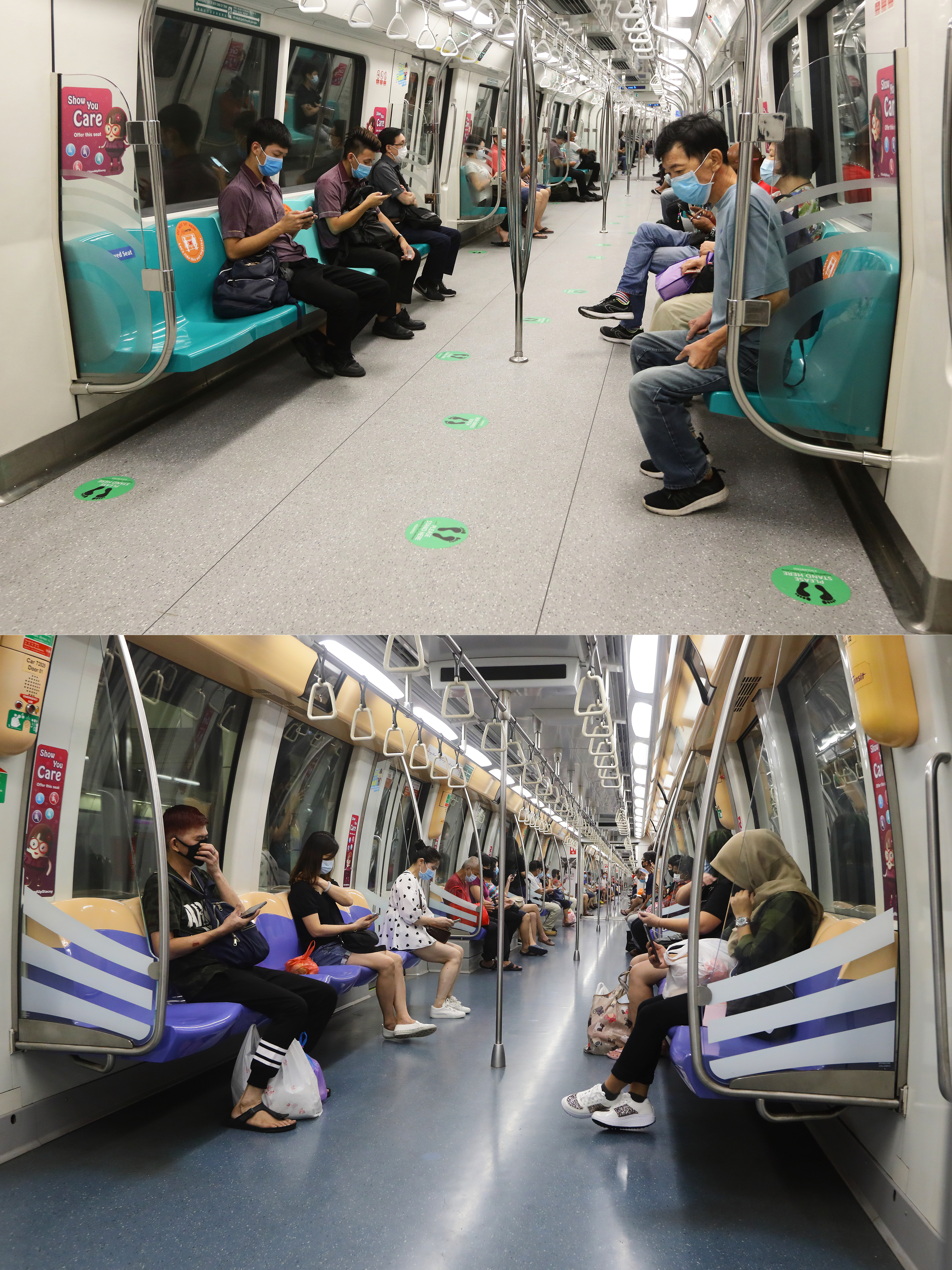 SINGAPORE - JUNE 02:  (EDITORS NOTE: Image is a digital composite) In this composite image, commuters ride the train on April 16, 2020 (Top- Image Number 1210095133) and on June 2, 2020 (Bottom) before and after the government implemented a social distancing stickers and markers on board the public train. The authority decided to remove all safe distancing stickers and markers from trains and buses as they deemed it is too challenging for commuters to keep their social distance. Today, Singapore embarks on phase one of a three phase approach against the coronavirus (COVID-19) pandemic as it begins to ease the partial lockdown measures by allowing the safe re-opening of economic activities which do not pose high risk of transmission. This include the resumption of selected health services, re-opening of schools with school children attending schools on rotational basis, manufacturing and production facilities, construction sites that adhere to safety measures, finance and information services that do not require interactions and places of worship, amongst others. Retail outlets, social and entertainment activities will remain closed and dining in at food and beverage outlets will still be disallowed. The government will further ease restriction by the middle of June if the infection rate within the community remains low over the next two weeks.(Photo by Suhaimi Abdullah/Getty Images)
