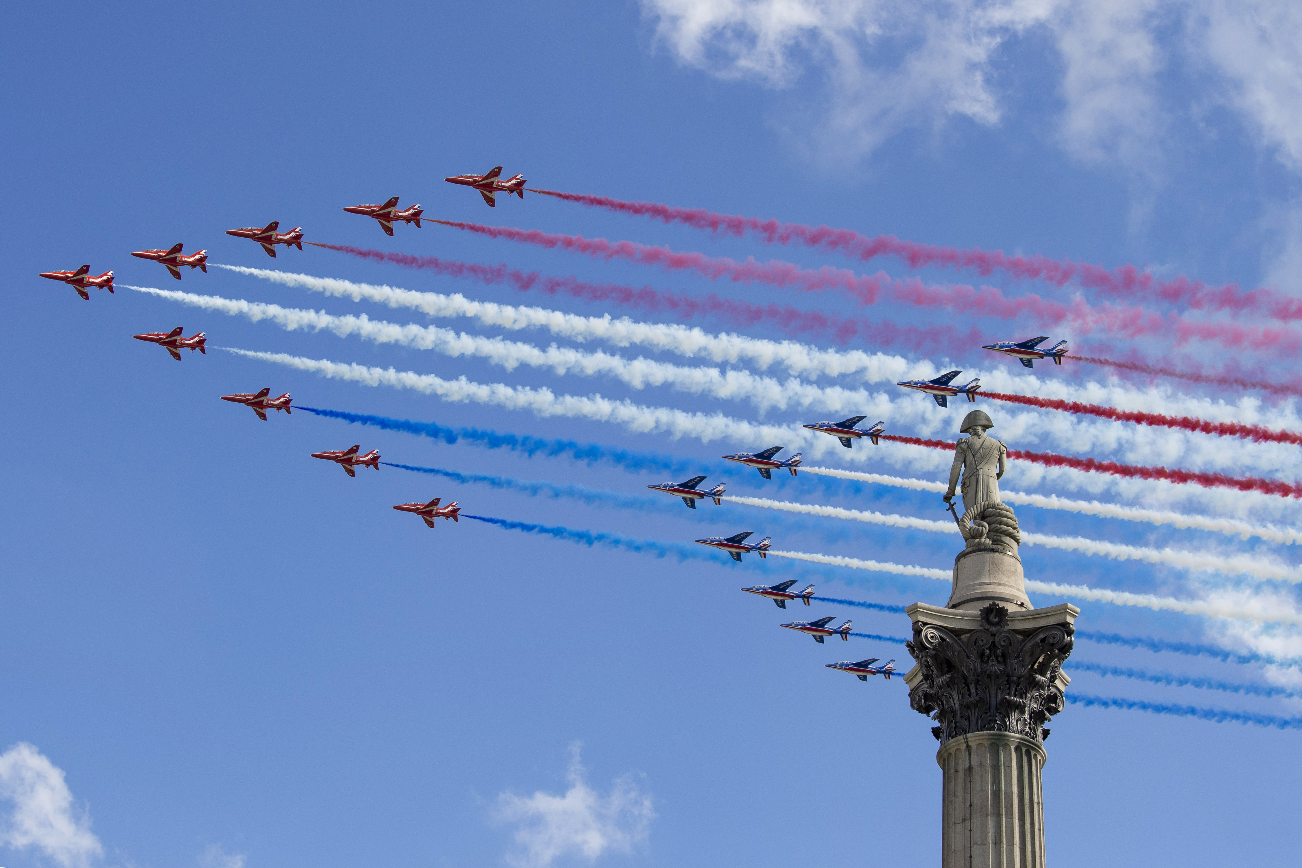 The Red Arrows and the Patrouille de France flypast over Nelson's Column in London to mark the visit of President of the Republic of France Emmanuel Macron. (Photo by Dave Rushen / SOPA Images/Sipa USA)