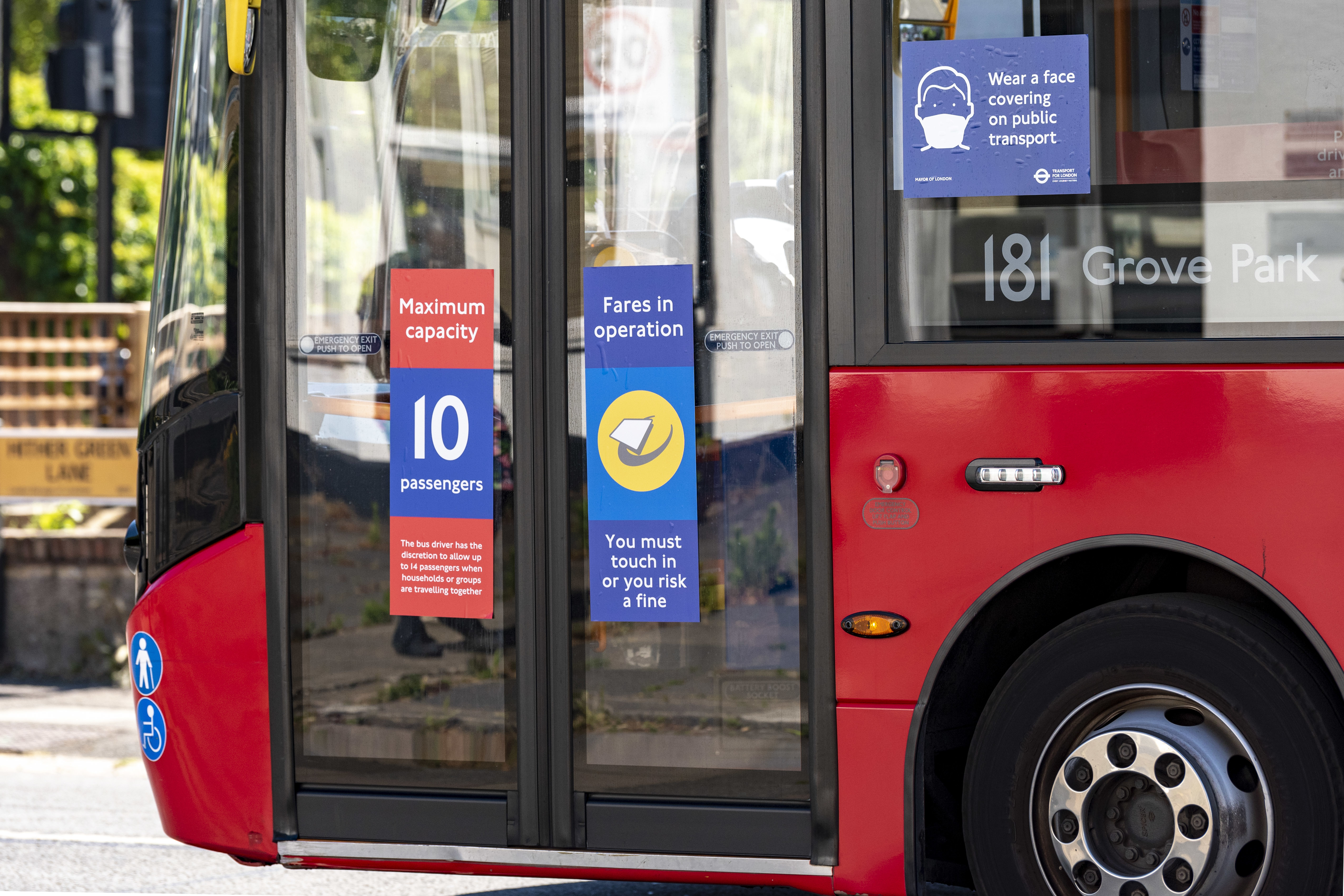 TFL London Bus with a sign restricting the amount of passengers allowed on to their buses to maintain social distancing. Only 10 passengers per single deck & 20 for a double deck bus (with the driver having the discretion to allow more passengers when households or groups are traveling together). (Photo by Dave Rushen / SOPA Images/Sipa USA)