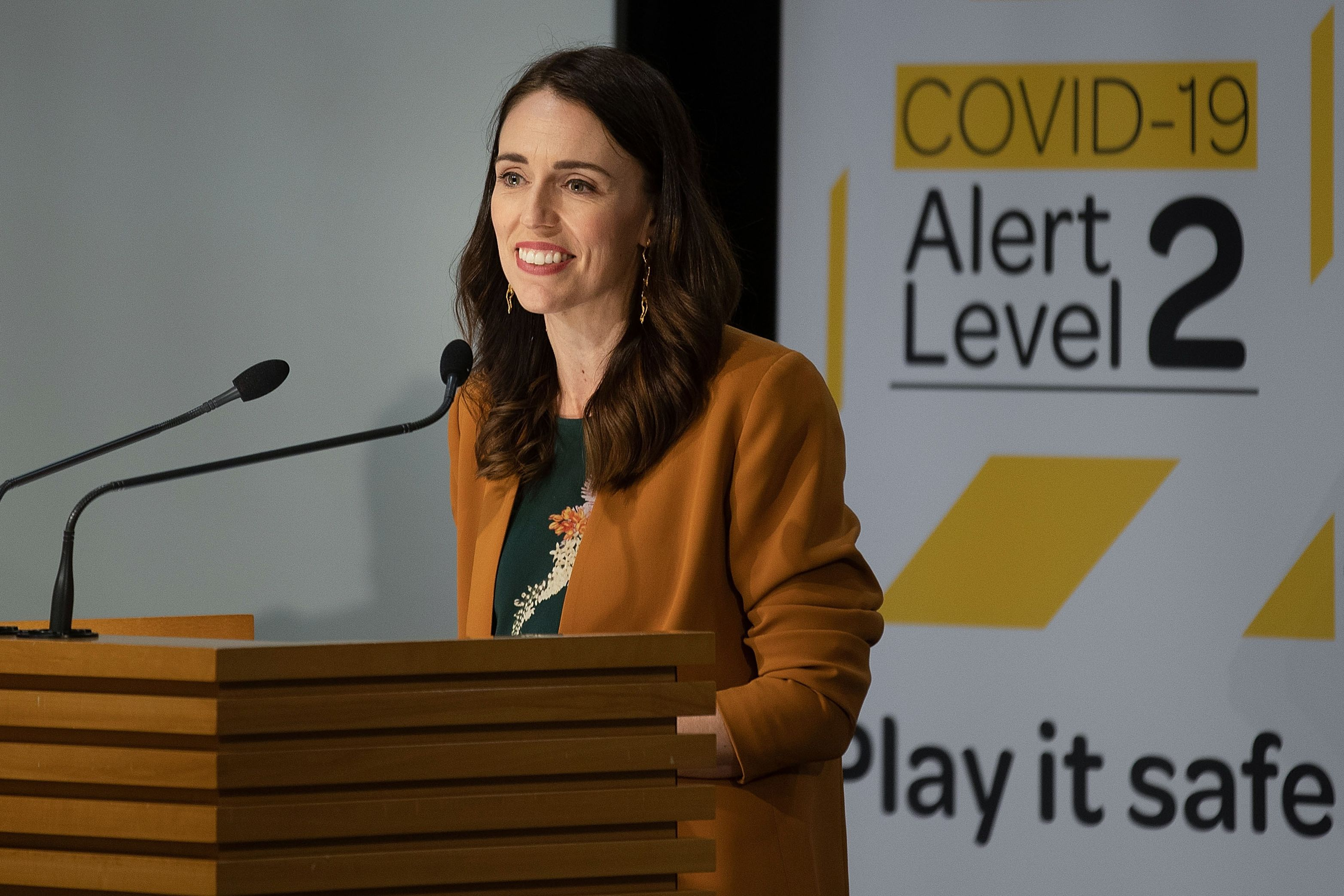 New Zealand's Prime Minister Jacinda Ardern takes part in a press conference about the COVID-19 coronavirus at Parliament in Wellington on June 8, 2020. - New Zealand has no active COVID-19 cases after the country's final patient was given the all clear and released from isolation, health authorities said on June 8. (Photo by Marty MELVILLE / AFP) (Photo by MARTY MELVILLE/AFP via Getty Images)