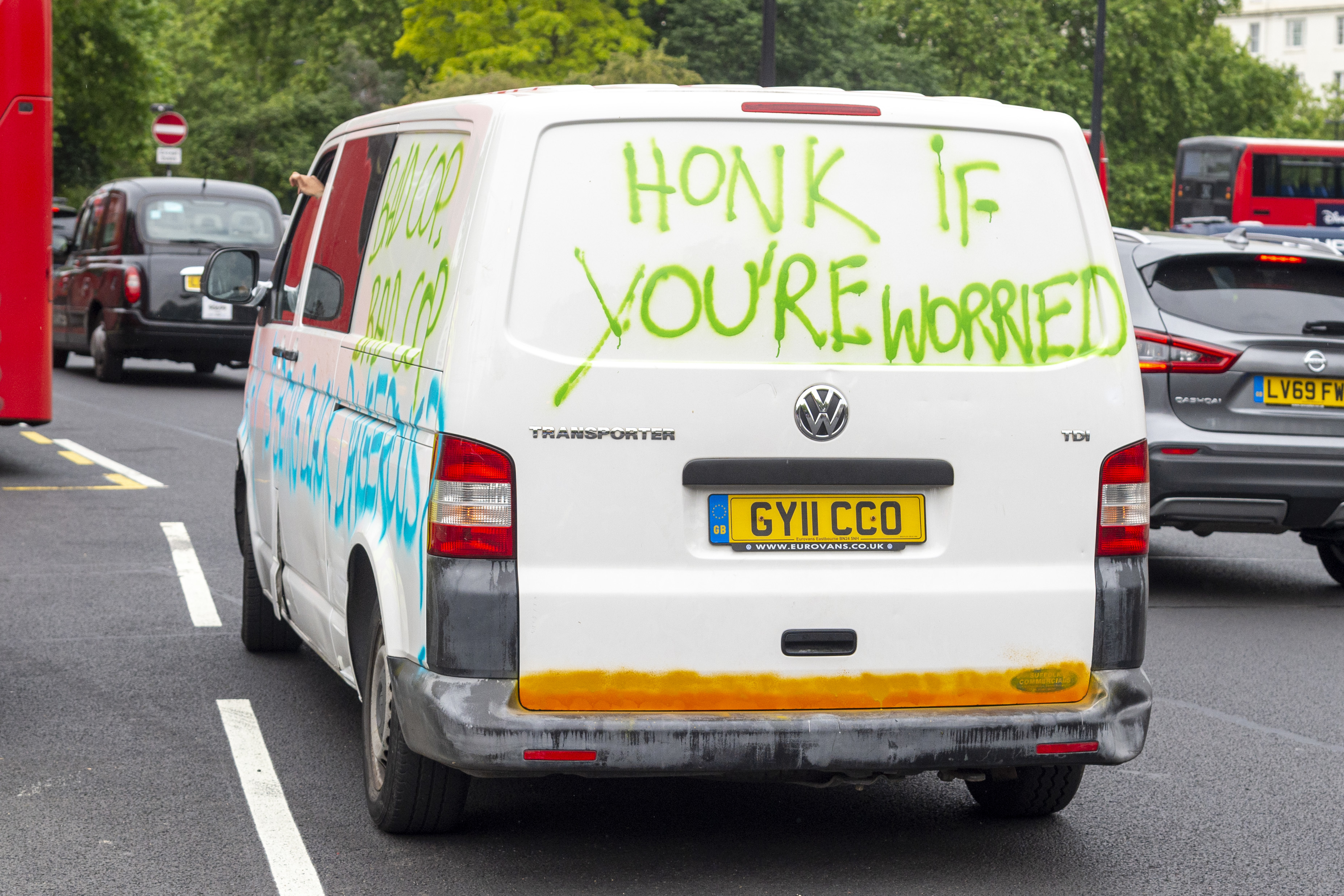 A van with �Honk if you�re worried' written on it during the Black Lives Matter protest at Hyde Park. Several protest have been spur by the recent killing of George Floyd, a black man who died in police custody in Minneapolis, U.S.A. (Photo by Dave Rushen / SOPA Images/Sipa USA)