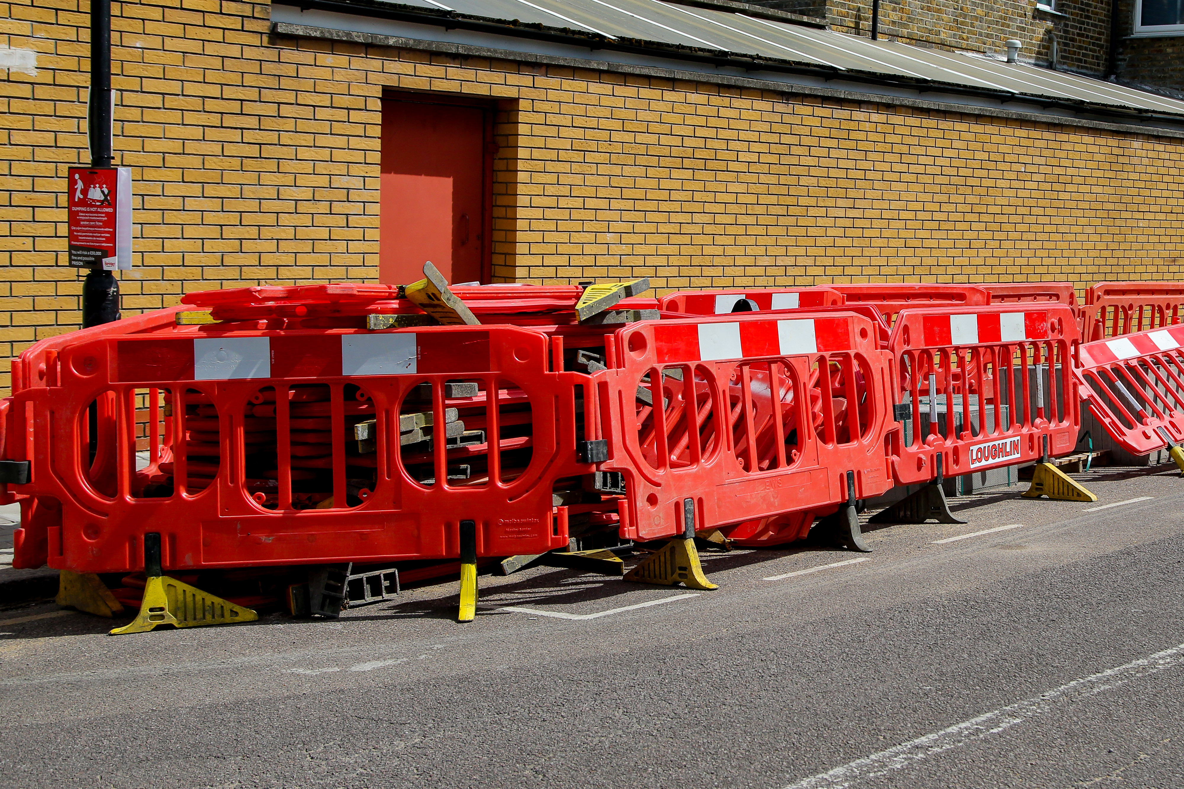 Barriers seen packed outside a property in north London. (Photo by Dinendra Haria / SOPA Images/Sipa USA)