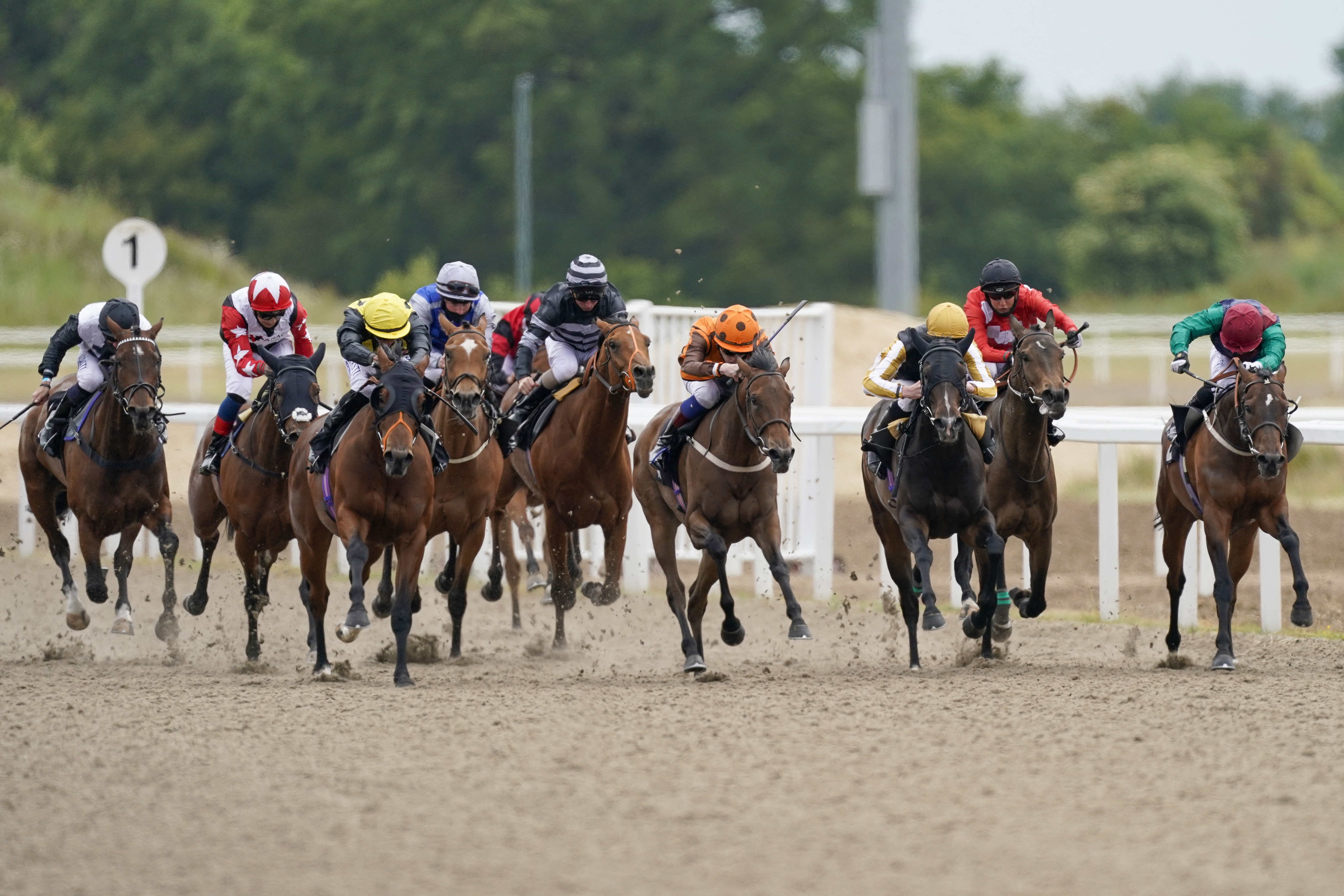 CHELMSFORD, ENGLAND - JUNE 08: David Egan riding Queen of Silca (orange) win The Chelmsford Handicap at Chelmsford City Racecourse on June 08, 2020 in Chelmsford, England. (Photo by Alan Crowhurst/Getty Images)