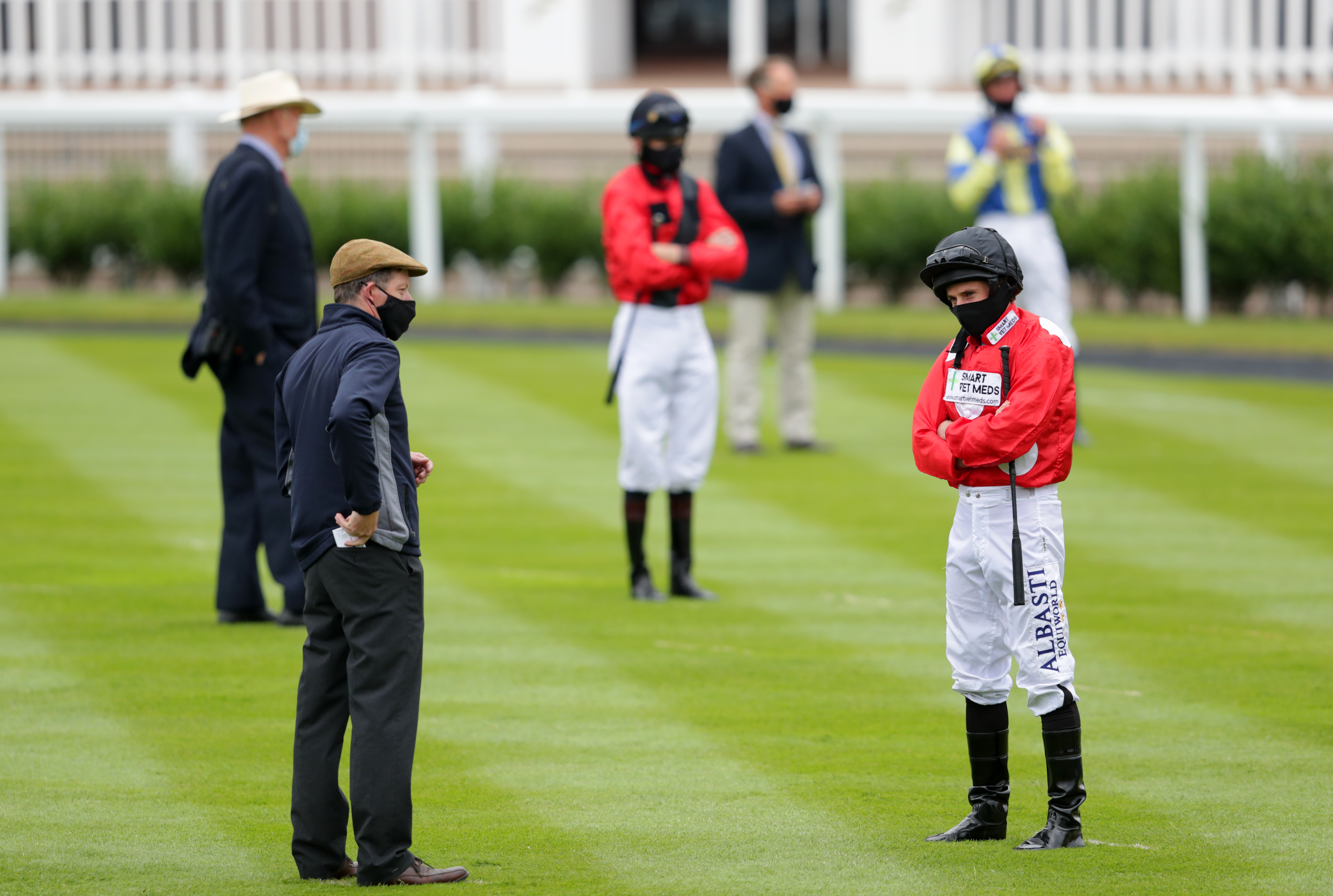 Jockey Ryan Moore in the parade ring before the Heed Your Hunch At Betway EBF Stallions Maiden Fillies' Stakes (Plus 10/GBB Race) (Div 1) at Newmarket Racecourse. (Photo by David Davies/PA Images via Getty Images)