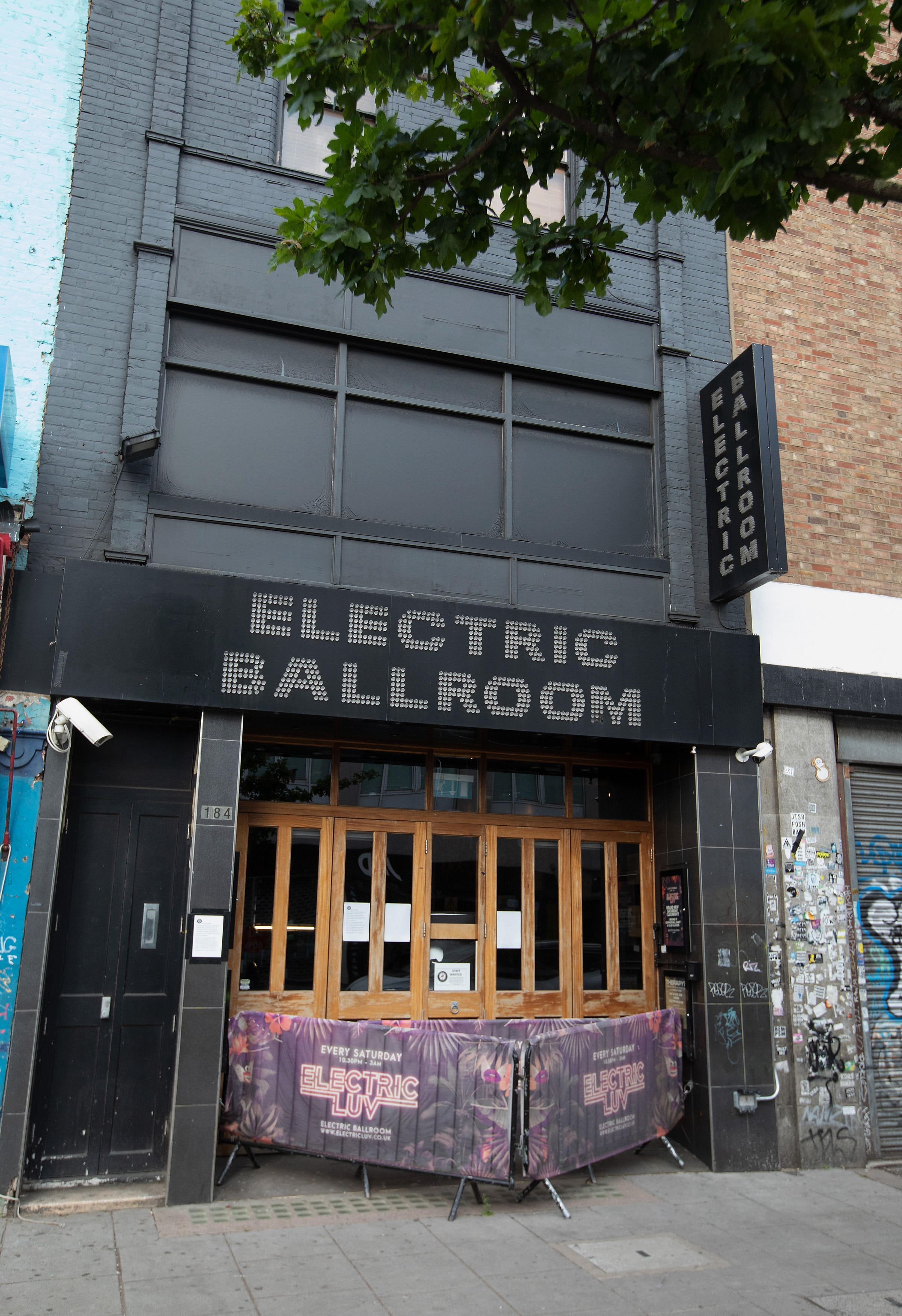 LONDON, ENGLAND - JUNE 14: A view of the closed Music Venue, Electric Ballroom, on June 14, 2020 in London, UK .As the British government further relaxes Covid-19 lockdown measures in England, this week sees preparations being made to open non-essential stores and Transport for London handing out face masks to commuters. International travelers arriving in the UK will face a 14-day quarantine period. (Photo by Jo Hale/Getty Images)