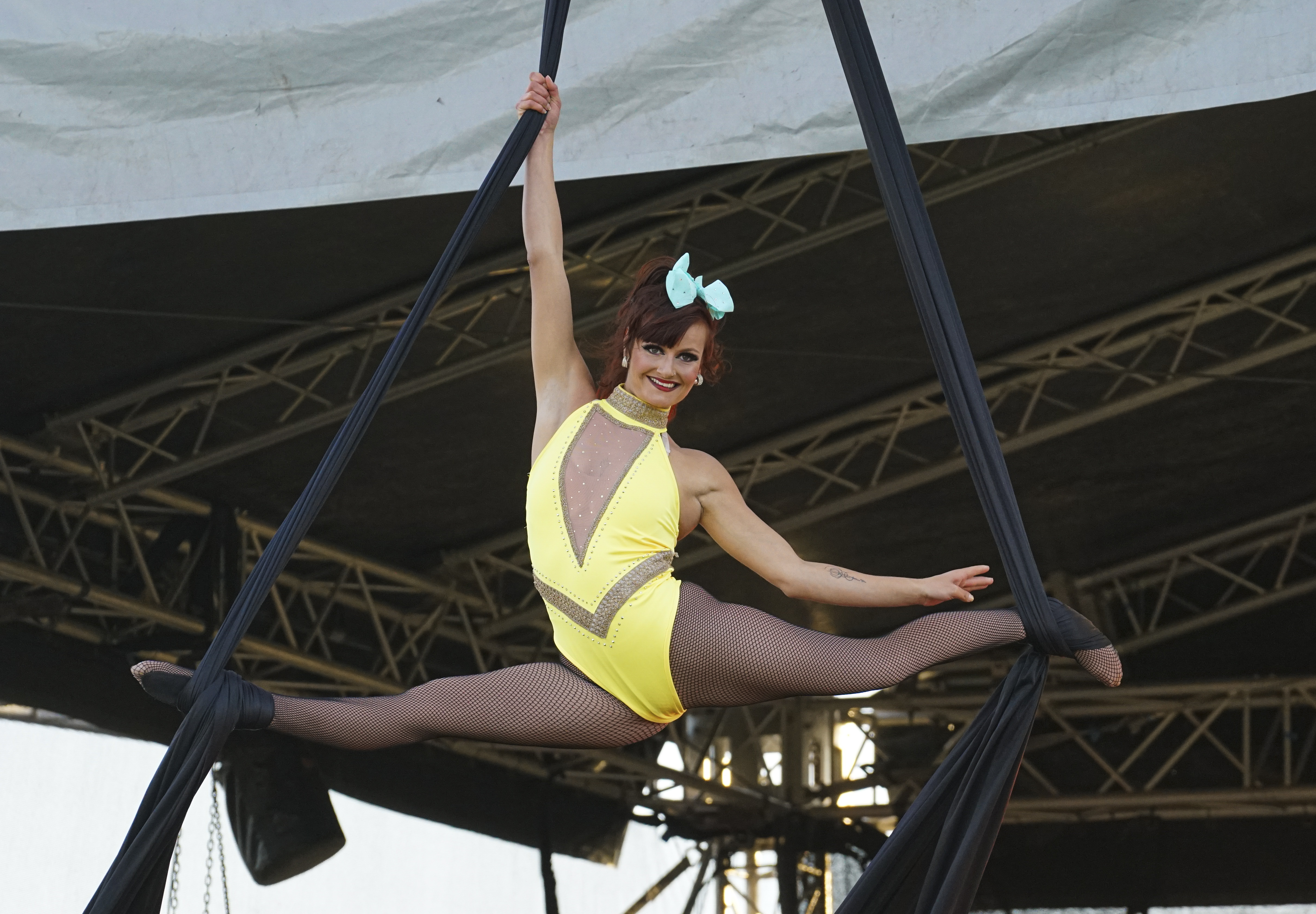 NEWQUAY, ENGLAND - JULY  19: The circus performers show their skills on the opening night of Britain's first ever drive-in circus performed by The Paulos Circus on July 19, 2020, at Circus Field, Newquay, Cornwall, United Kingdom. Formed in 1816, The Paulos Circus is Britain's oldest circus. The holiday season commenced in Cornwall on July 4th with the lifting of restrictions on hotels, holiday lets and camp sites after three months shutdown. (Photo by Hugh R Hastings/Getty Images)