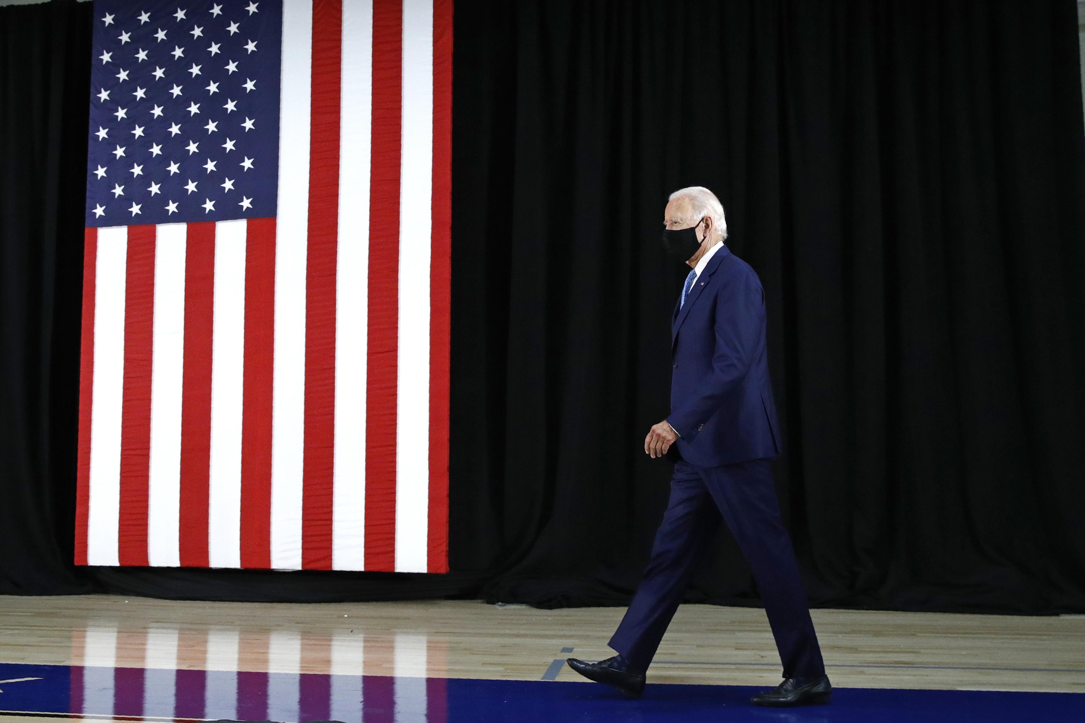 Democratic presidential candidate, former Vice President Joe Biden arrives to speak at Alexis Dupont High School in Wilmington, Del., Tuesday, June 30, 2020. (AP Photo/Patrick Semansky)