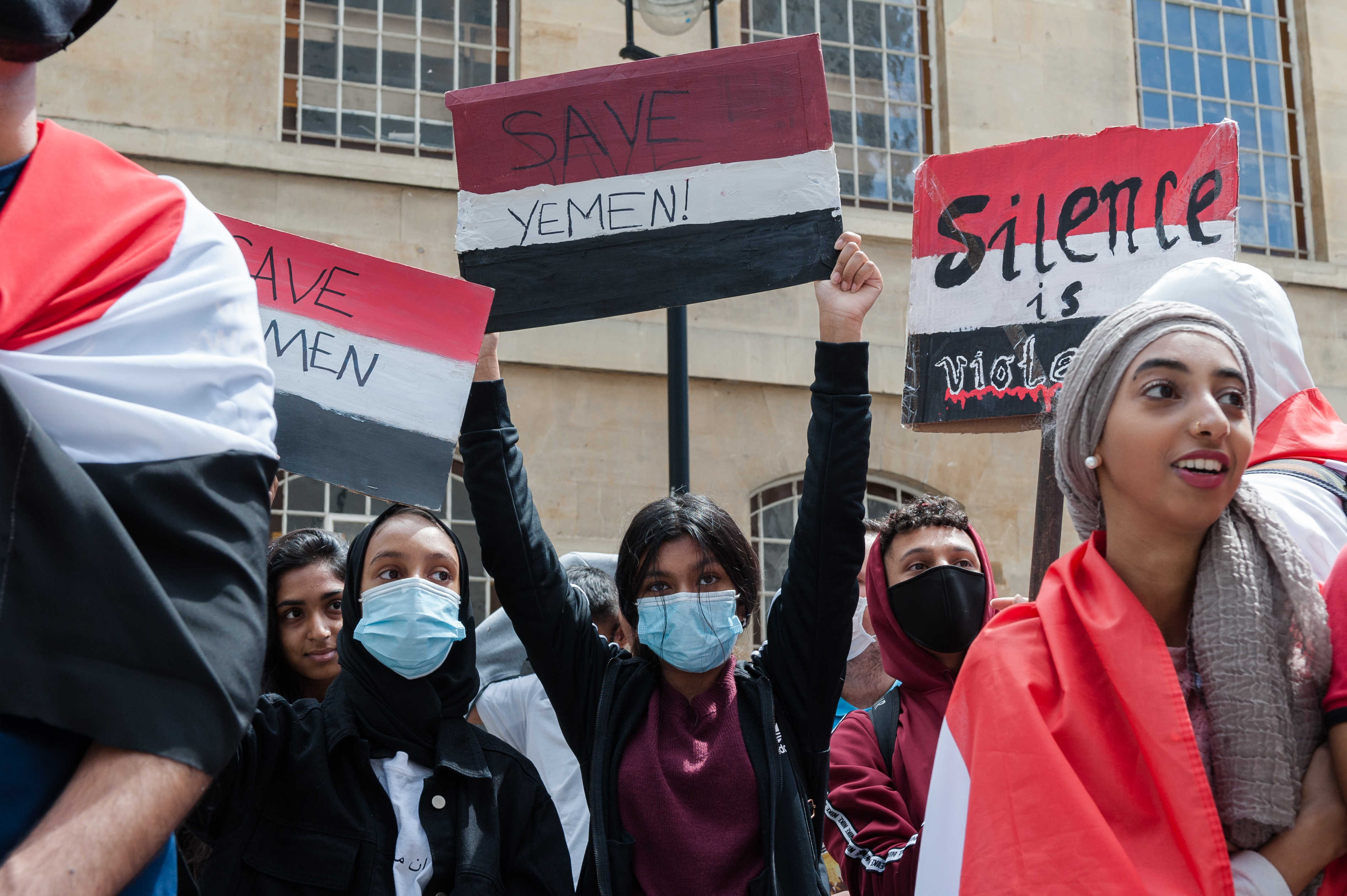 Demonstrators gather outside BBC Broadcasting House  for a march through central London in a protest against the ongoing conflict in Yemen, via the embassies of countries involved in the conflict - Saudi Arabia, United Arab Emirates and Iran on 12 July, 2020 in London, England. The UK is set to resume arms sales to Saudi Arabia, which were suspended last year after a legal challenge brought by campaigners, despite concerns they could be used against civilians in Yemen and therefore in violation of international humanitarian law. (Photo by WIktor Szymanowicz/NurPhoto via Getty Images)