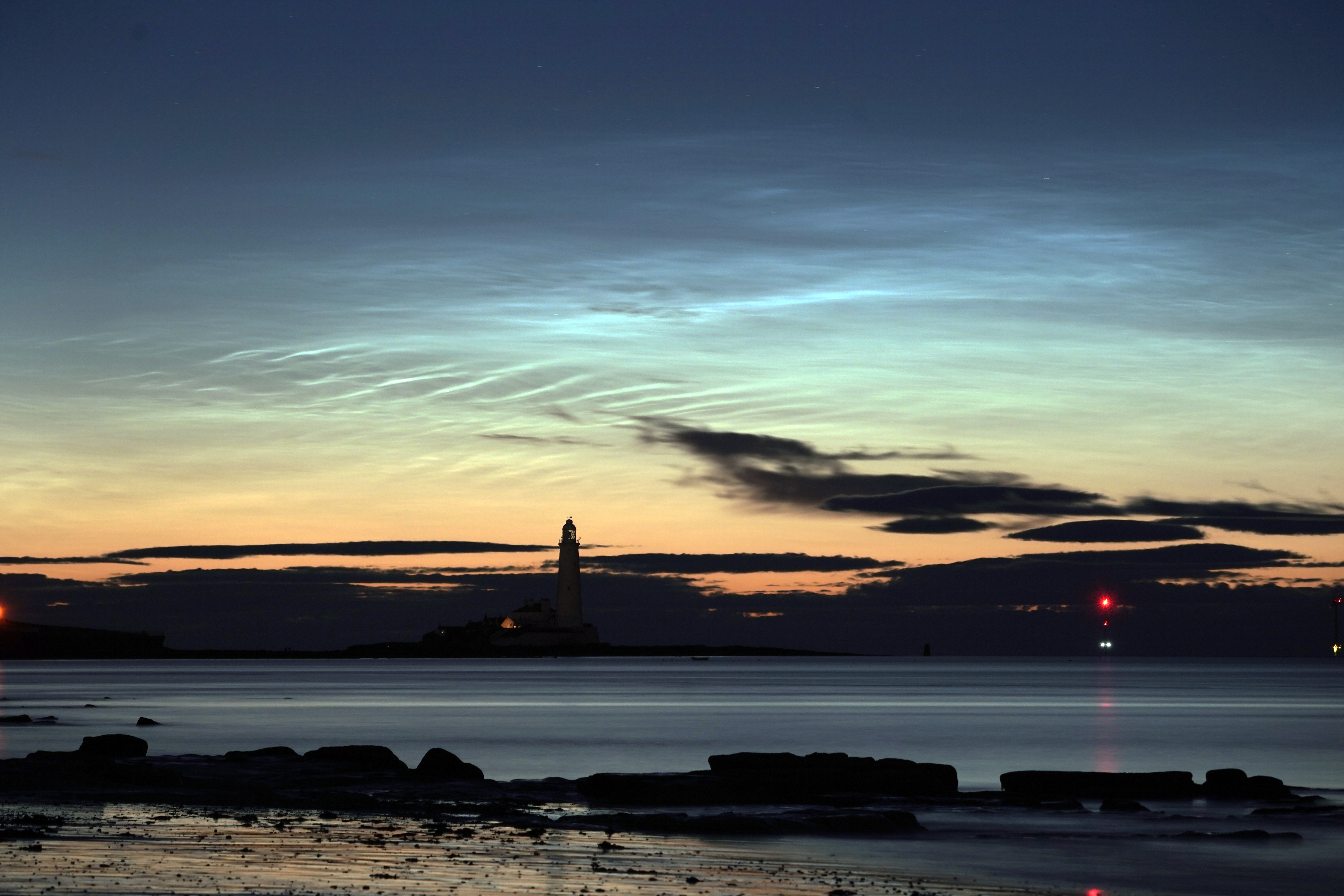 St Mary's Lighthouse in Whitley Bay in the early hours of Tuesday morning. (Photo by Owen Humphreys/PA Images via Getty Images)