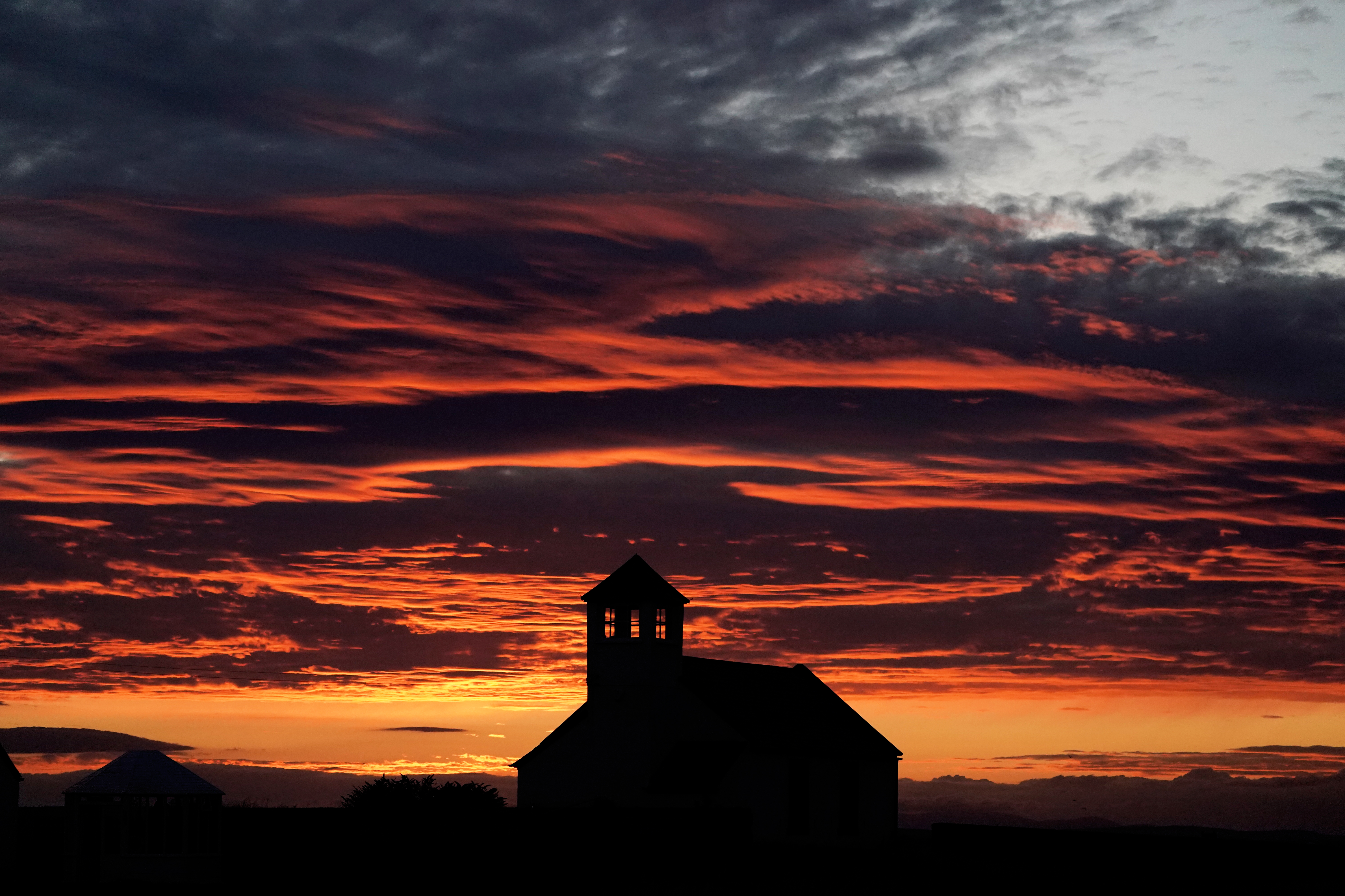 Sunset over the Watch Tower in Seaton Sluice, Northumberland. (Photo by Owen Humphreys/PA Images via Getty Images)