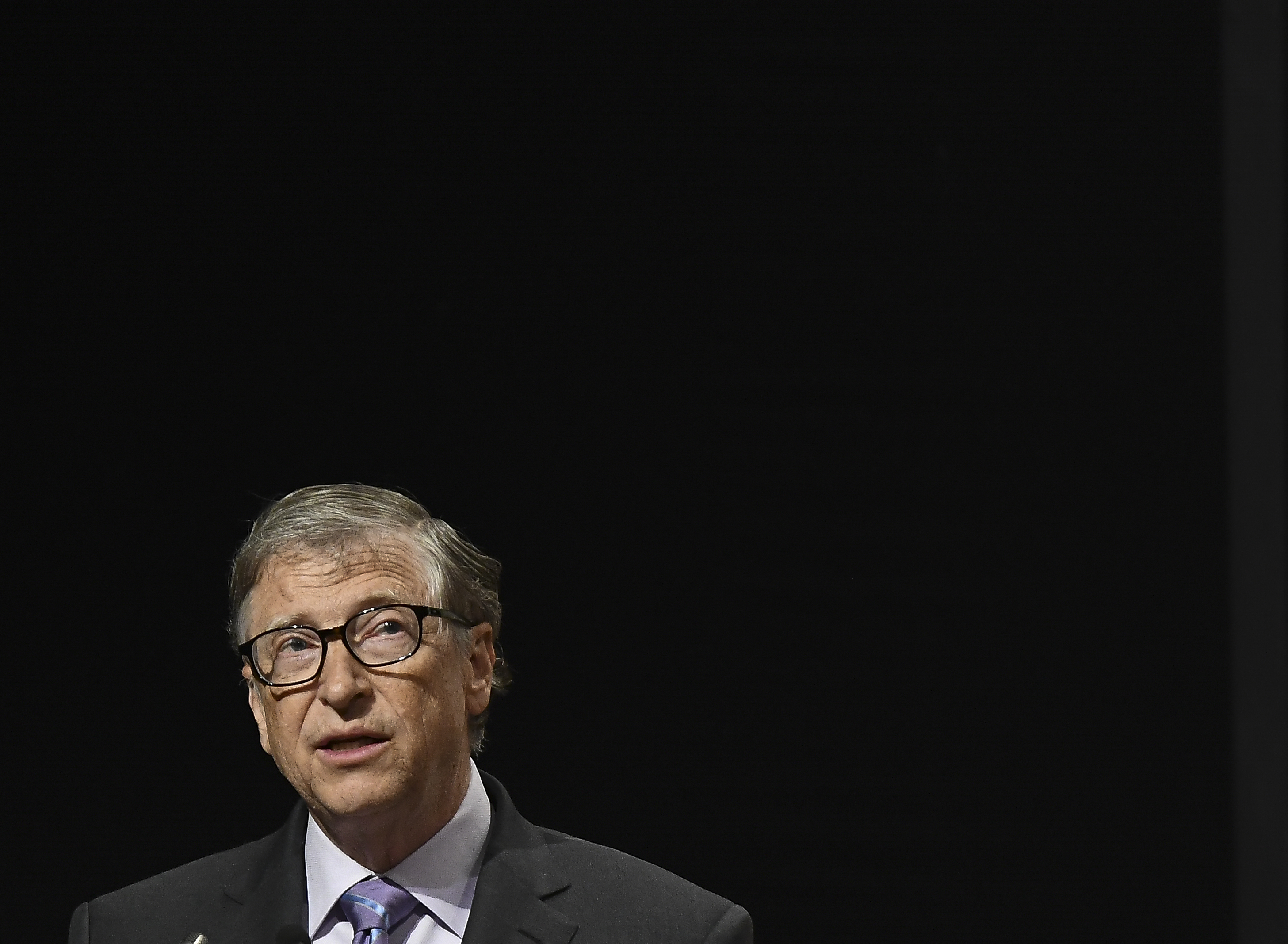 Co-chair and Trustee of the Bill and Melinda Gates Foundation, Bill Gates, speaks to the gathering during the inauguration of the 8th International Conference on Agriculture Statistics in New Delhi, India on 18 November 2019. (Photo by Indraneel Chowdhury/NurPhoto via Getty Images)