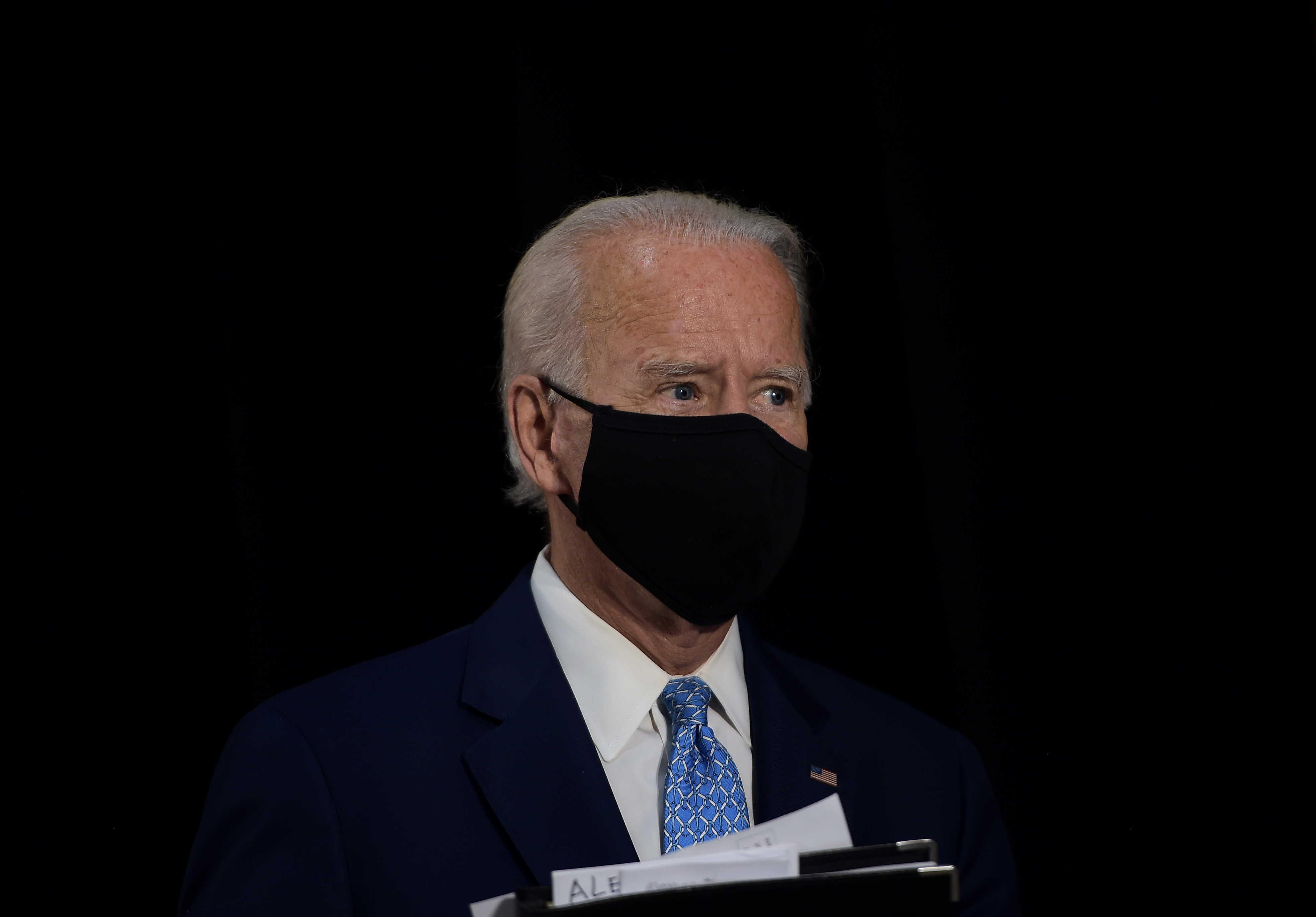 US Democratic presidential candidate Joe Biden leaves after speaking about the coronavirus pandemic and the economy on June 30, 2020, in Wilmington, Delaware. (Photo by Brendan Smialowski / AFP) (Photo by BRENDAN SMIALOWSKI/AFP via Getty Images)