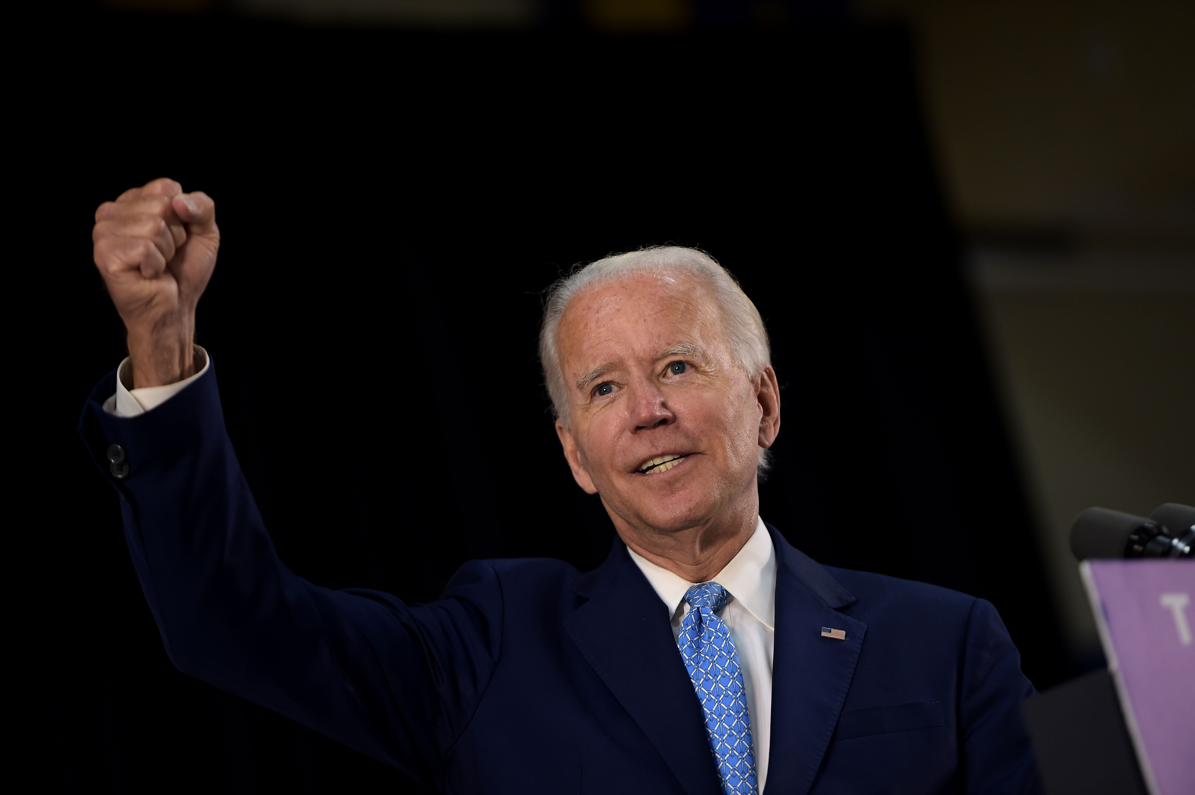 US Democratic presidential candidate Joe Biden answers questions after speaking about the coronavirus pandemic and the economy on June 30, 2020, in Wilmington, Delaware. (Photo by Brendan Smialowski / AFP) (Photo by BRENDAN SMIALOWSKI/AFP via Getty Images)