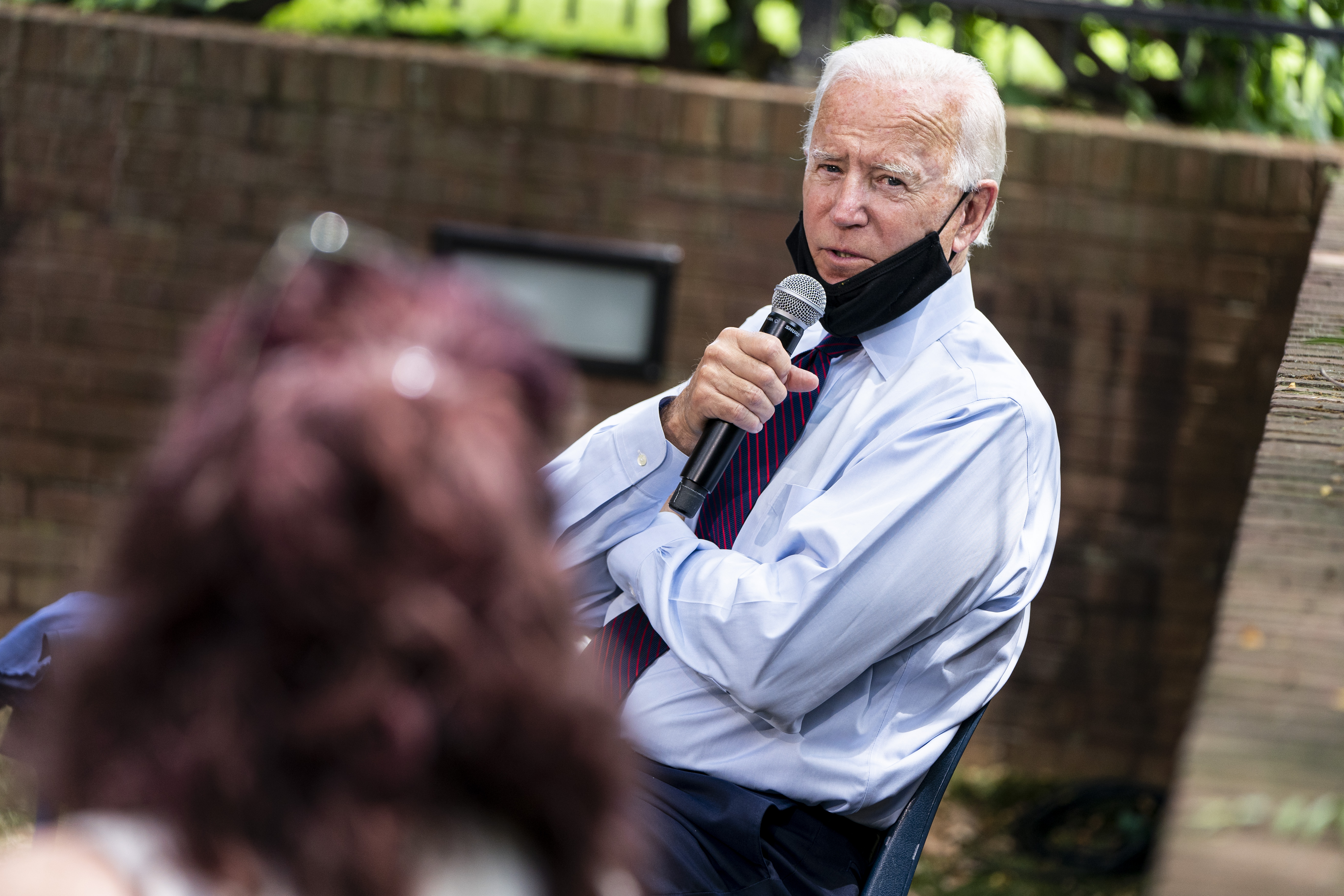 LANCASTER, PA - JUNE 25: Democratic presidential candidate former Vice President Joe Biden speaks to families who have benefited from the Affordable Care Act during an event at the Lancaster Recreation Center on June 25, 2020 in Lancaster, Pennsylvania. Biden met with families who have benefited from the Affordable Care Act and made remarks on his plan for affordable health care. (Photo by Joshua Roberts/Getty Images)