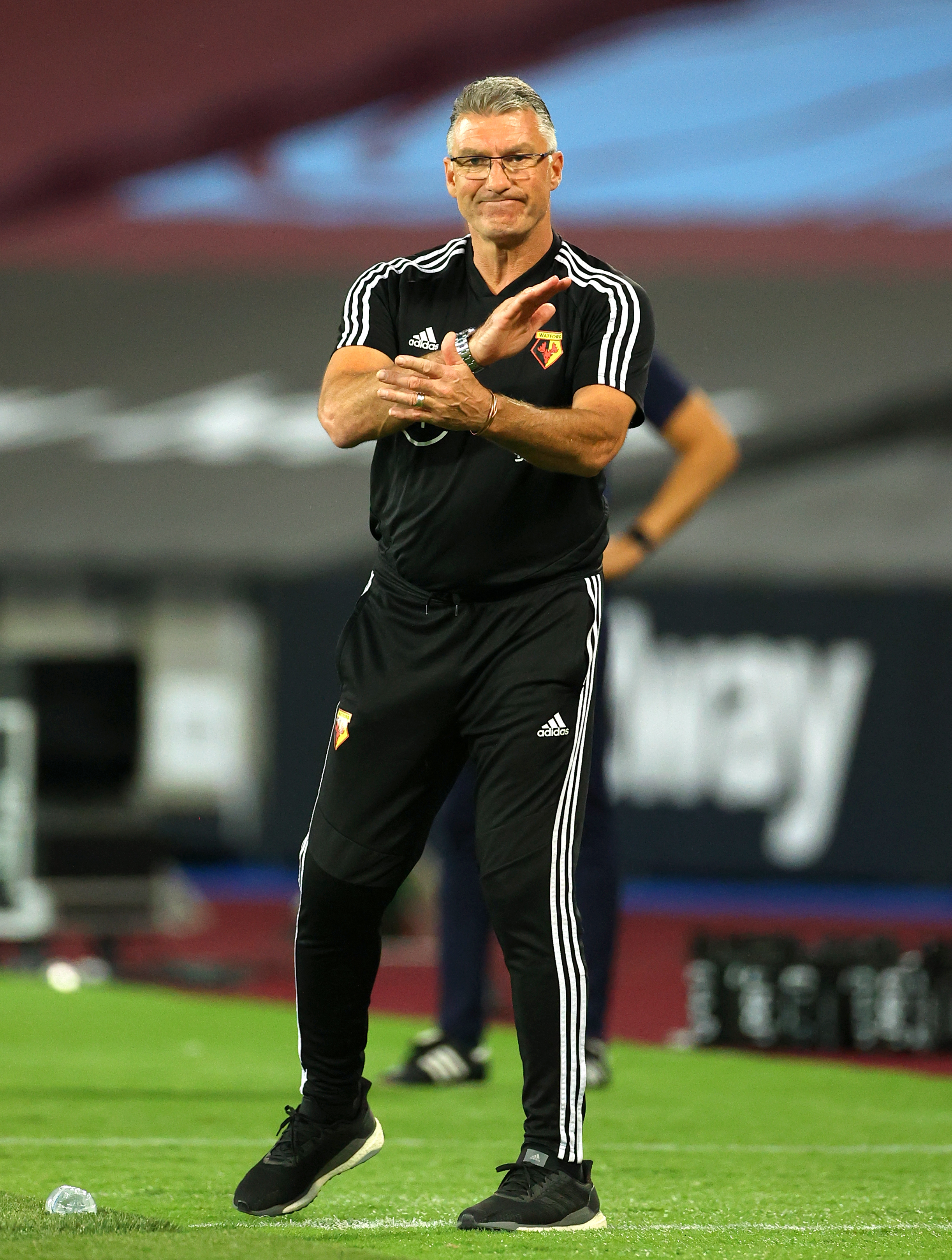 Watford manager Nigel Pearson gestures on the touchline during the Premier League match at the London Stadium.