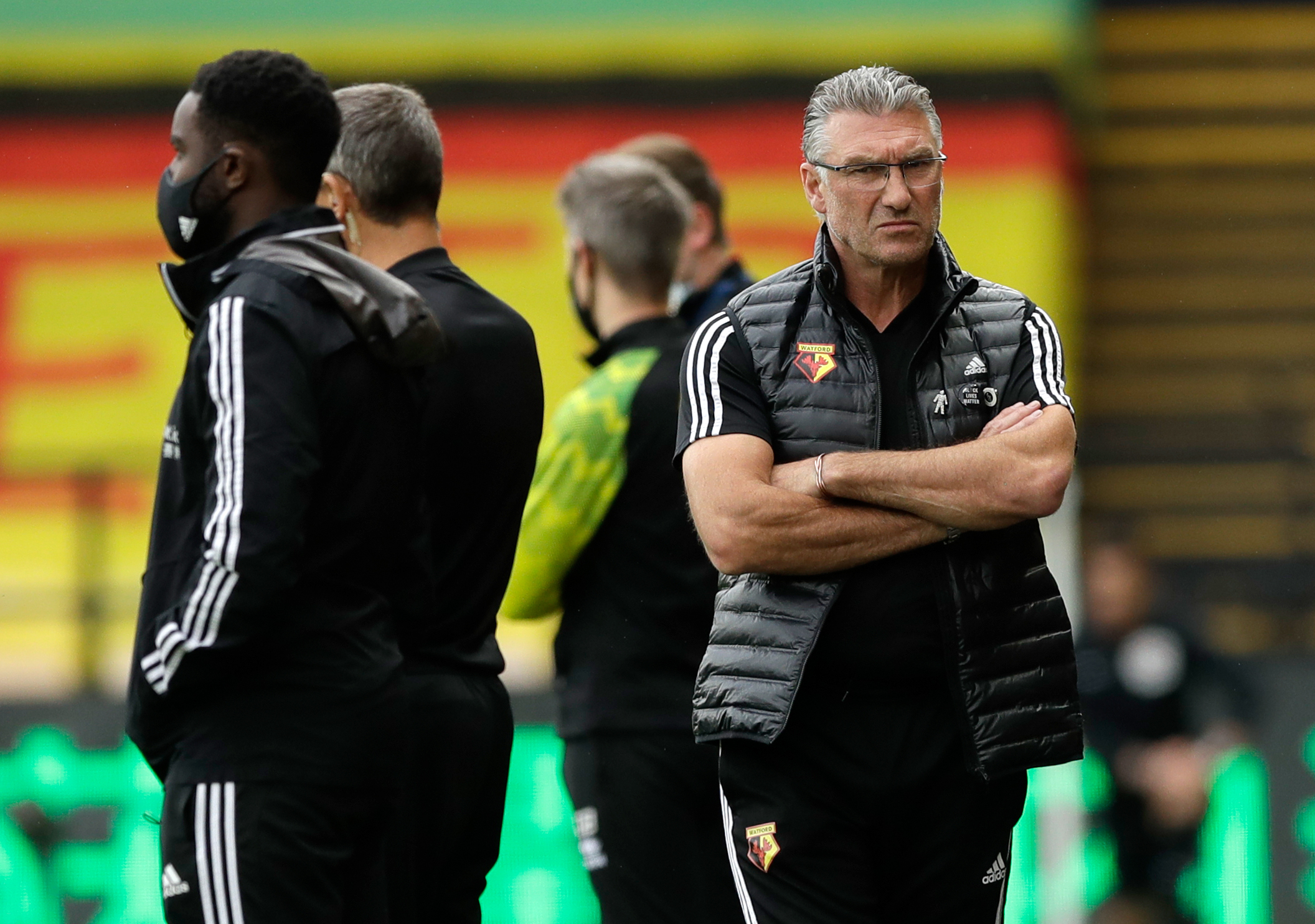 Watford manager Nigel Pearson during the warm up before the Premier League match at Vicarage Road, Watford.