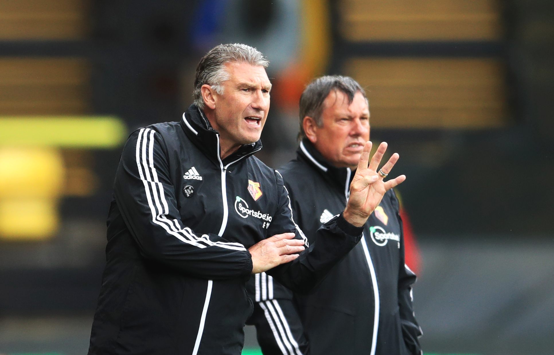 Watford manager Nigel Pearson gestures on the touchline during the Premier League match at Vicarage Road, Watford.