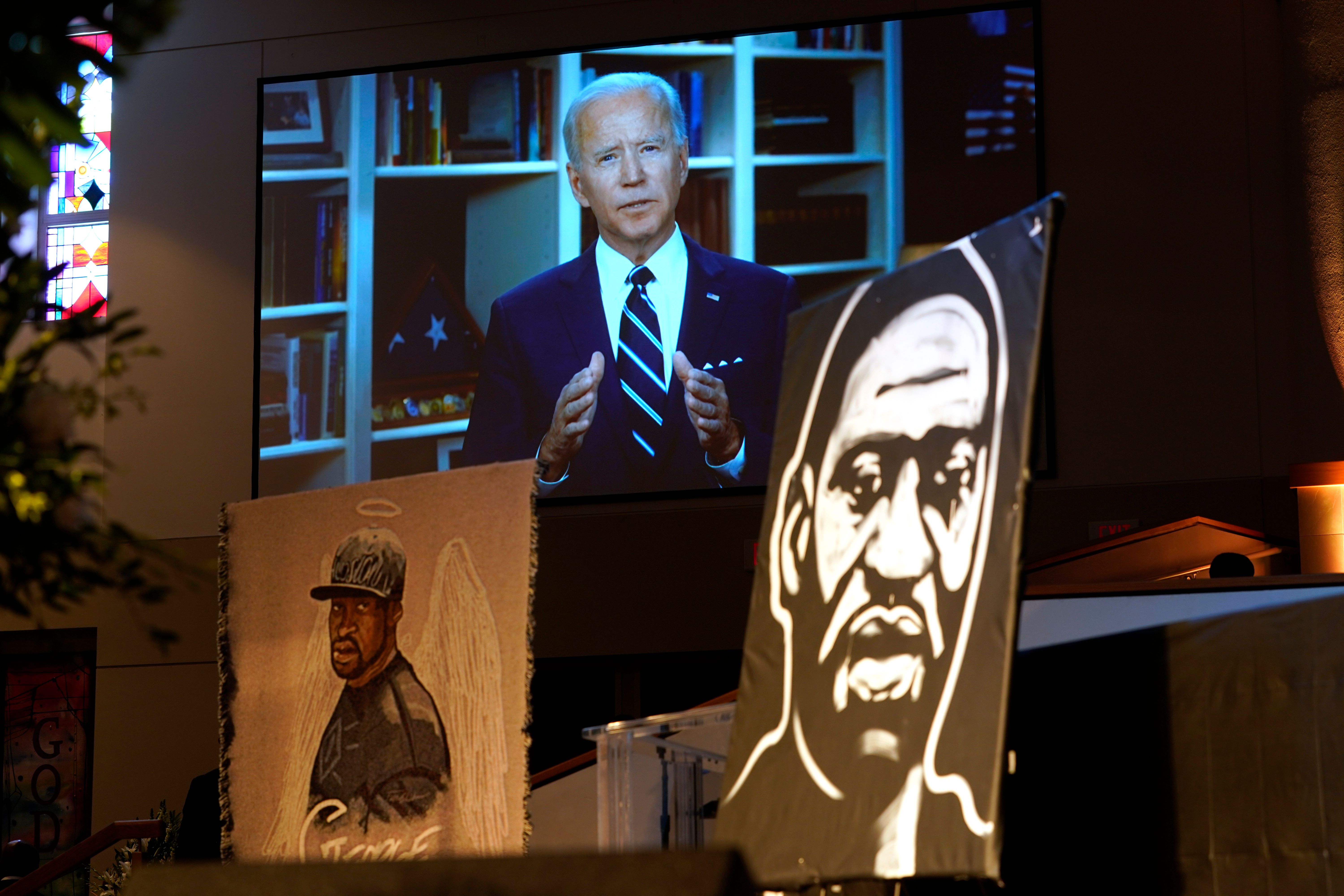 Democratic presumptive presidential candidate and former Vice President Joe Biden speaks via video link as family and guests attend the funeral service for George Floyd at The Fountain of Praise Church on June 9, 2020, in Houston. - George Floyd will be laid to rest Tuesday in his Houston hometown, the culmination of a long farewell to the 46-year-old African American whose death in custody ignited global protests against police brutality and racism.Thousands of well-wishers filed past Floyd's coffin in a public viewing a day earlier, as a court set bail at $1 million for the white officer charged with his murder last month in Minneapolis. (Photo by David J. Phillip / POOL / AFP) (Photo by DAVID J. PHILLIP/POOL/AFP via Getty Images)