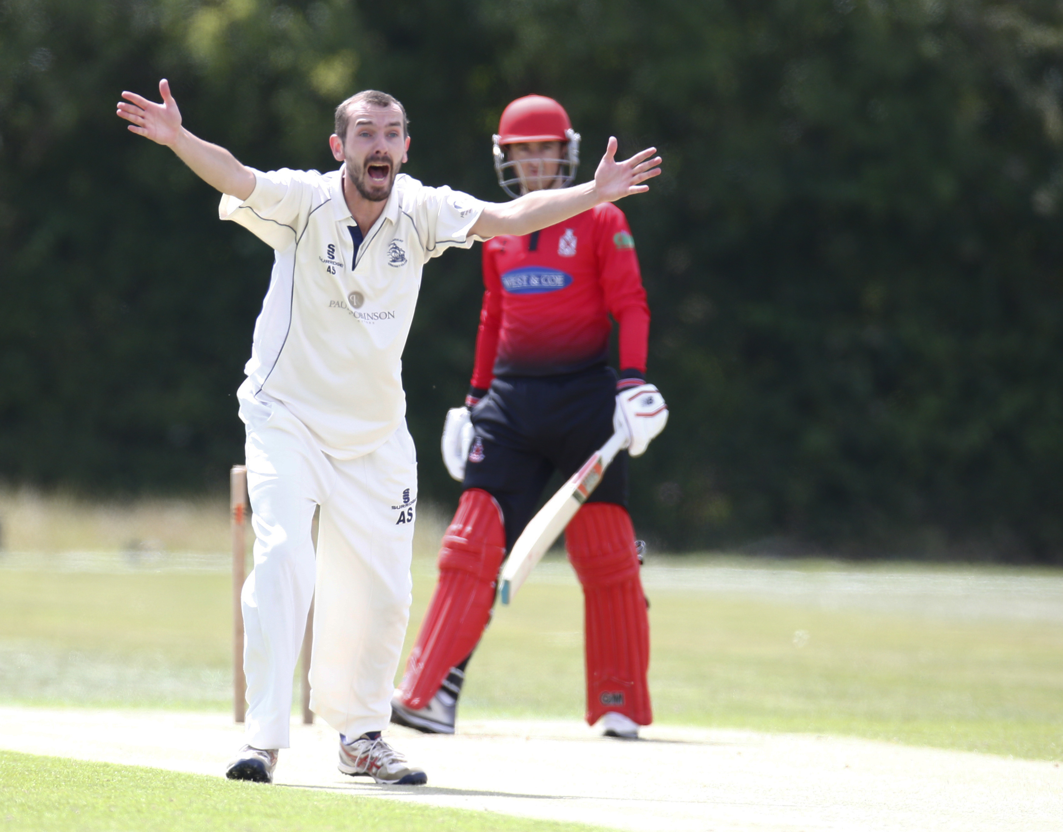 BILLERICAY, ENGLAND, JULY 18 2020: Andy Smith of Billericay CC claims LBW not given during Shepherd Neame Essex Cricket League Gooch Division between Billericay CC and Hornchurch CC at Toby Howe Cricket Club, Billericay, England, UK on July 18, 2020.(ESPA/Cal Sport Media/Sipa USA)