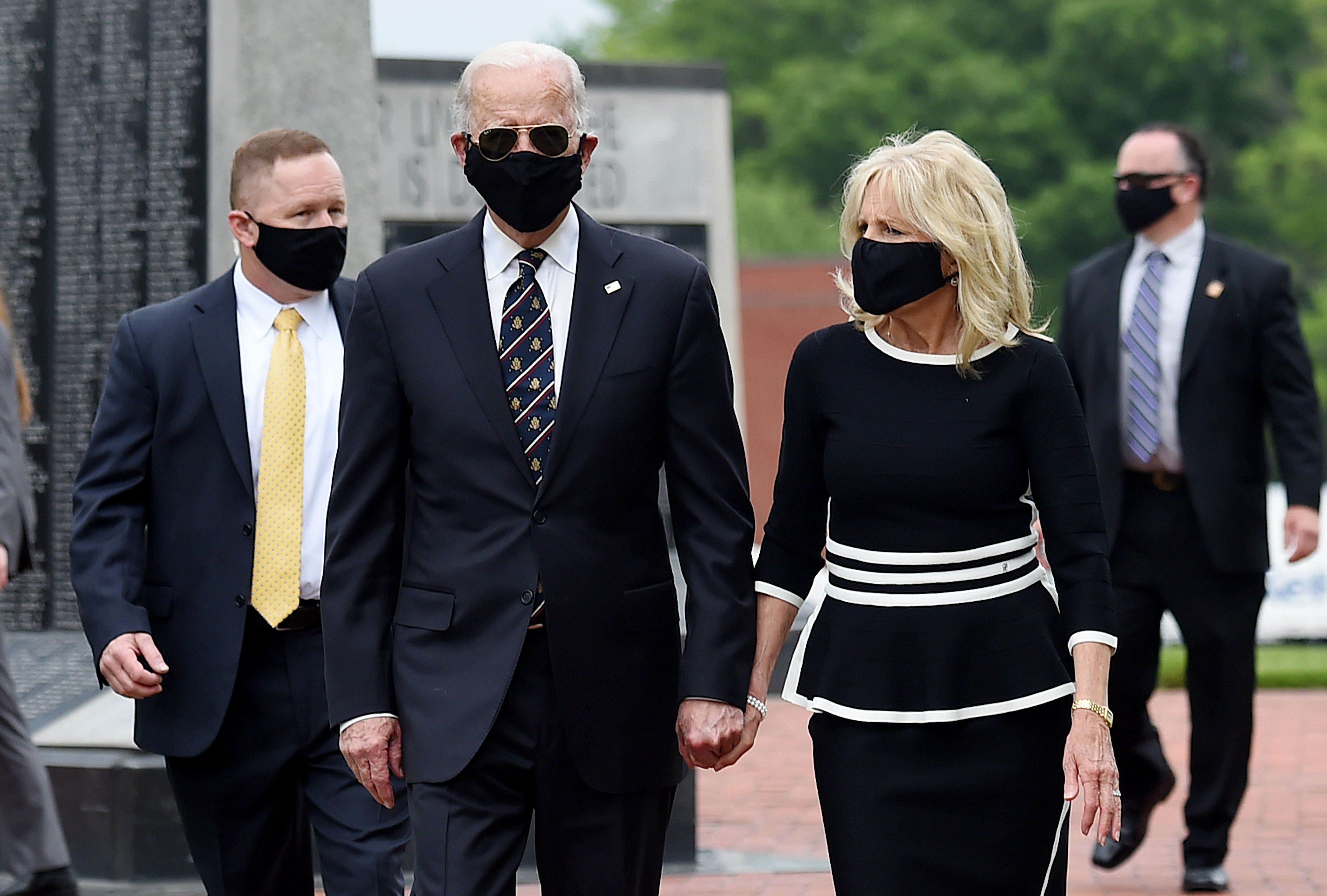 Democratic presidential candidate and former US Vice President Joe Biden and his wife Jill Biden, leave Delaware Memorial Bridge Veteran's Memorial Park after paying their respects to fallen service members in Newcastle, Delaware, May 25, 2020. (Photo by Olivier DOULIERY / AFP) (Photo by OLIVIER DOULIERY/AFP via Getty Images)