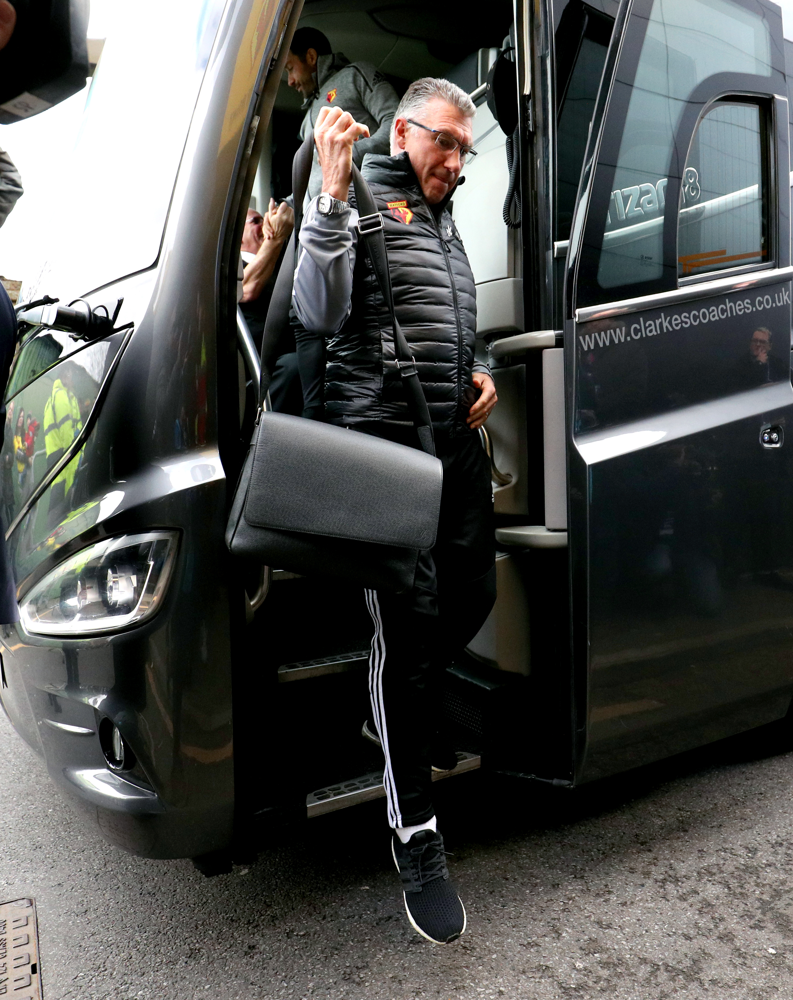 Watford manager Nigel Pearson arrives at the stadium ahead of the Premier League match at Vicarage Road, Watford.