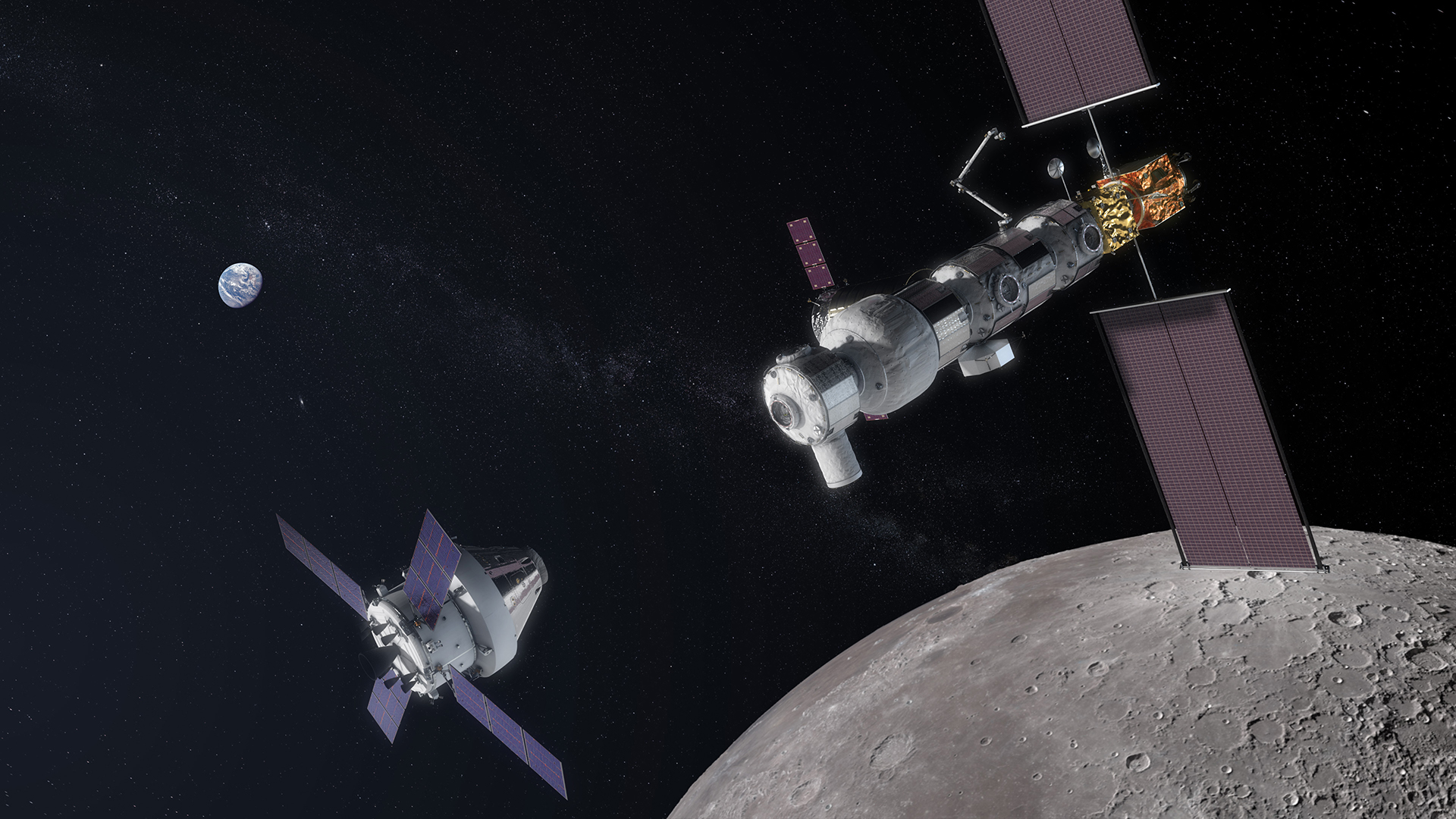 An illustration of NASA's proposed Lunar Gateway and Orion spacecraft.