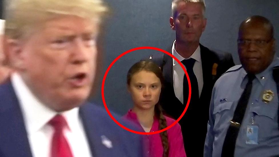 Greta Thunberg glares at Donald Trump at United Nations ...