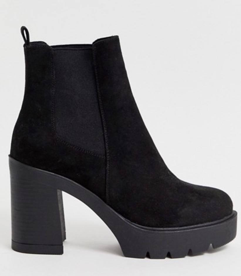 ASOS Design Elderberry chunky chelsea boots in black
