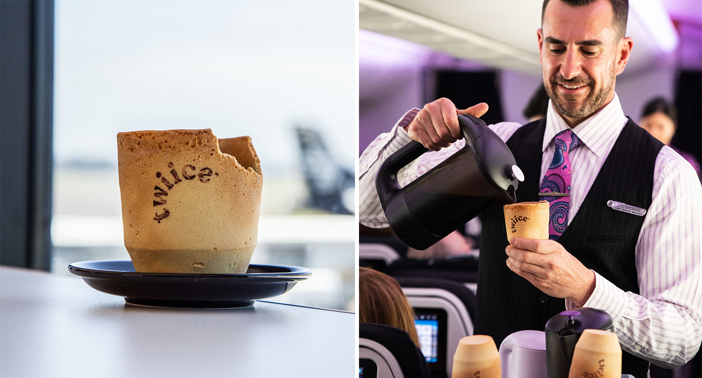 Air New Zealand trials edible, vanilla flavoured coffee cups