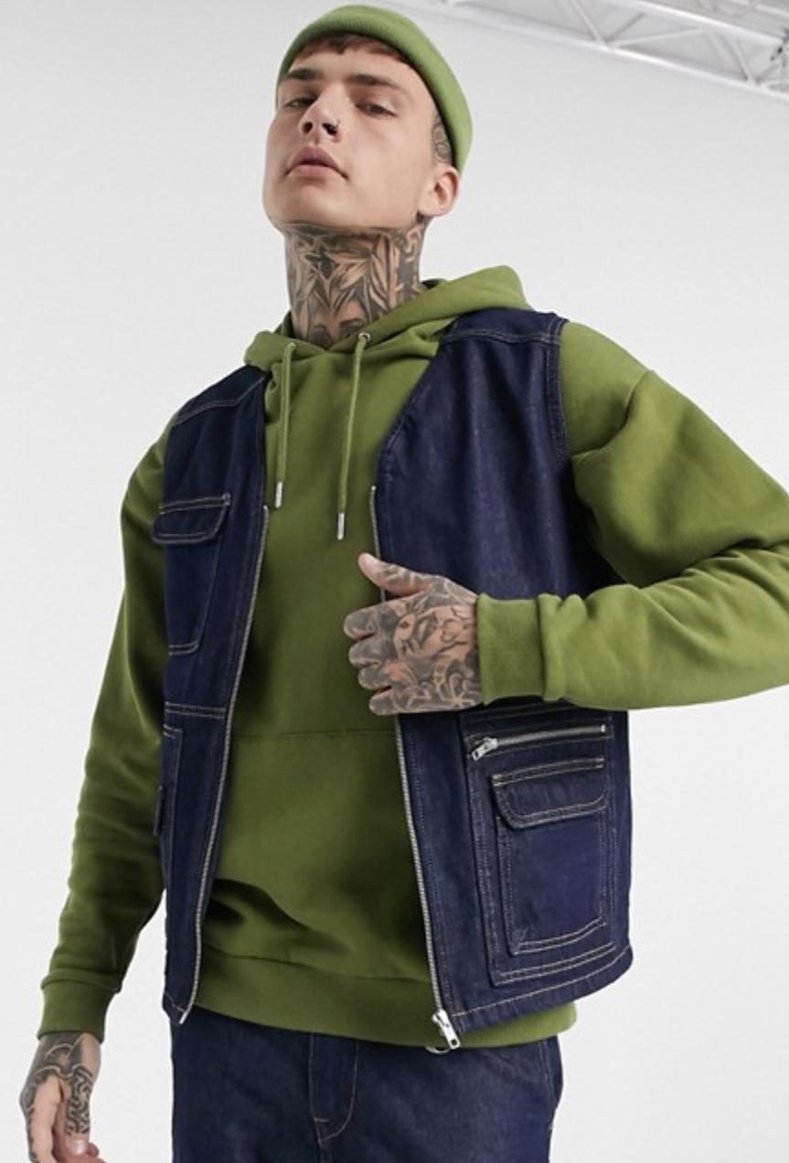 Jack & Jones Originals Utility Vest in Denim Blue