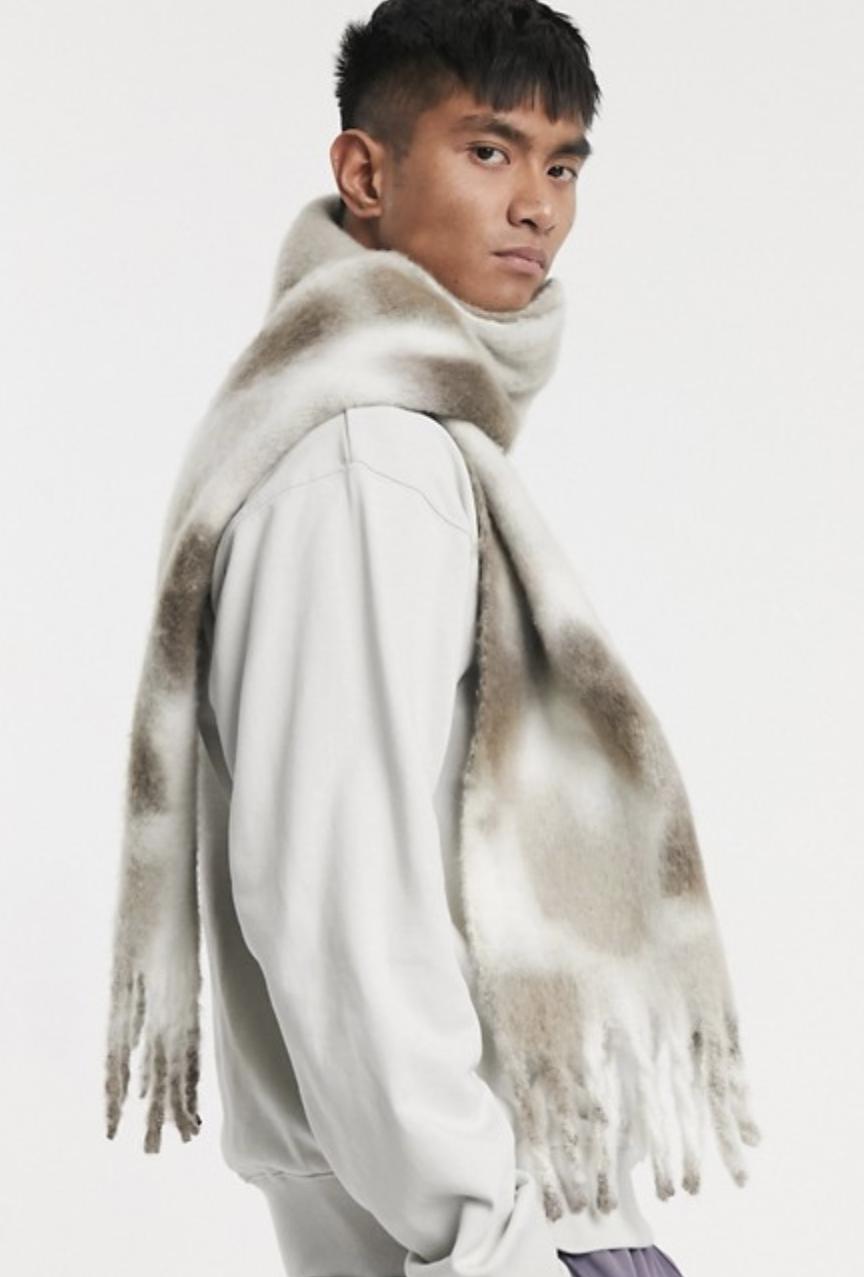 ASOS Design tie dye scarf in gray