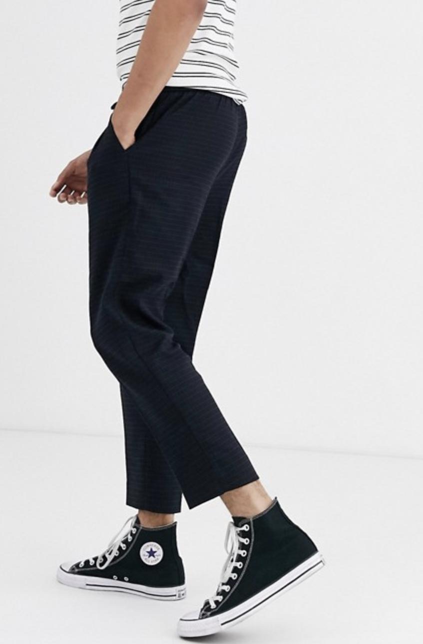 New Look Slim Crop Grif Pants in Navy