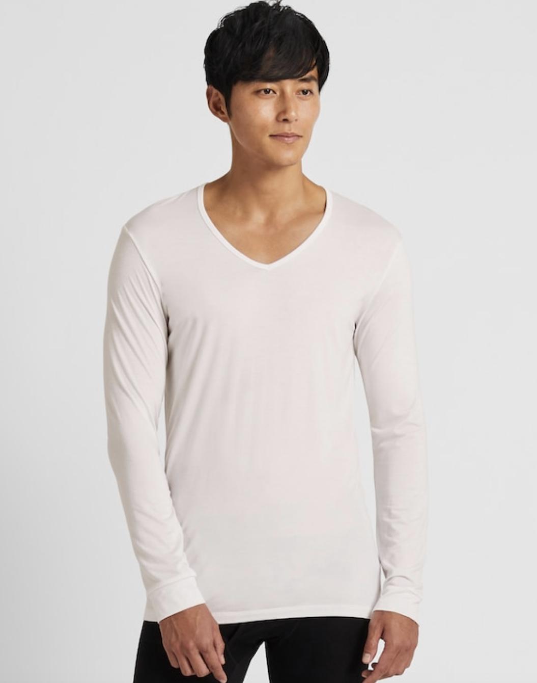 Men Heattech V-Neck Long-Sleeve T-Shirt